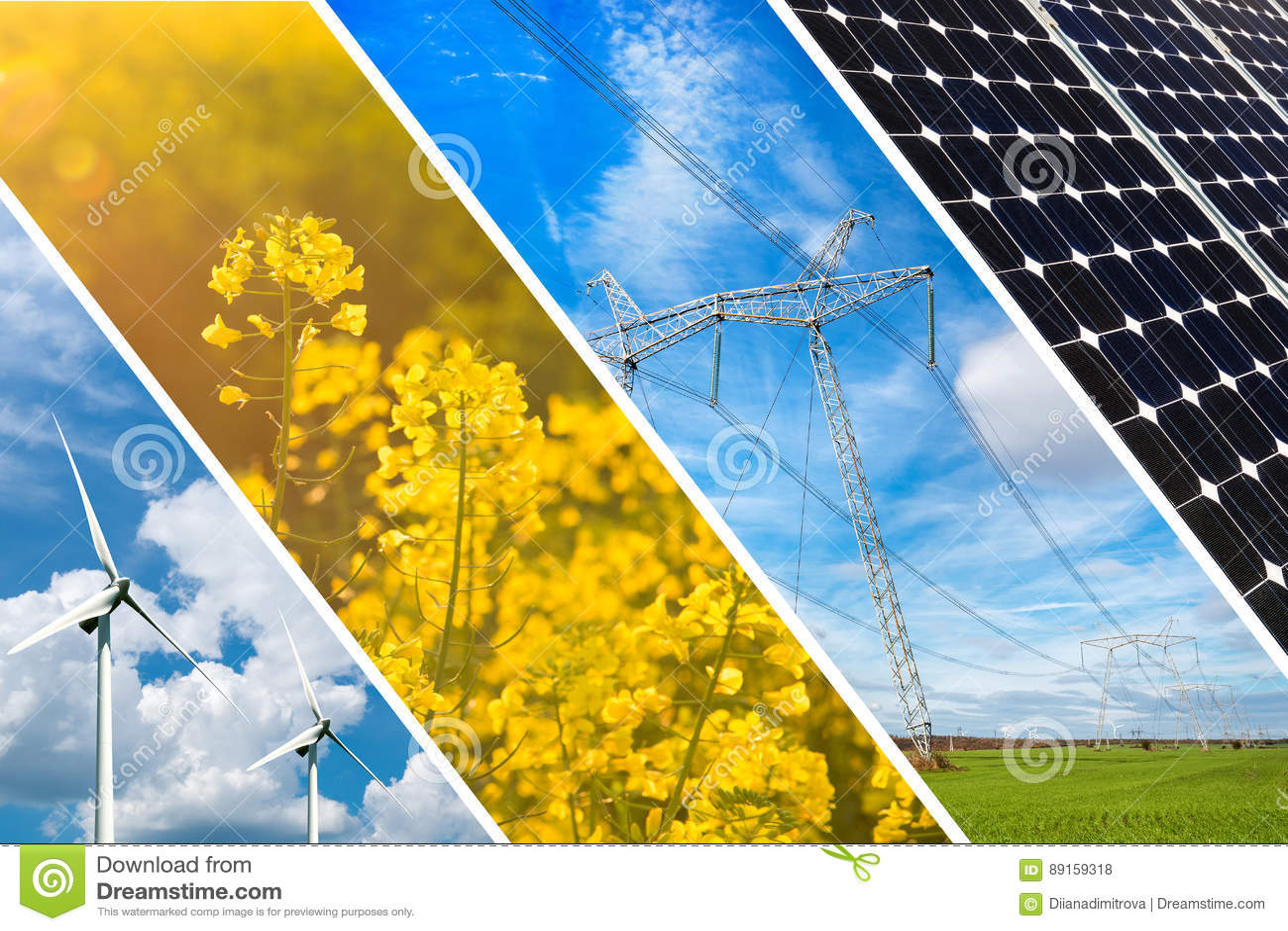 Концепция возобновляющей энергии и устойчивых ресурсов - коллажа фото
