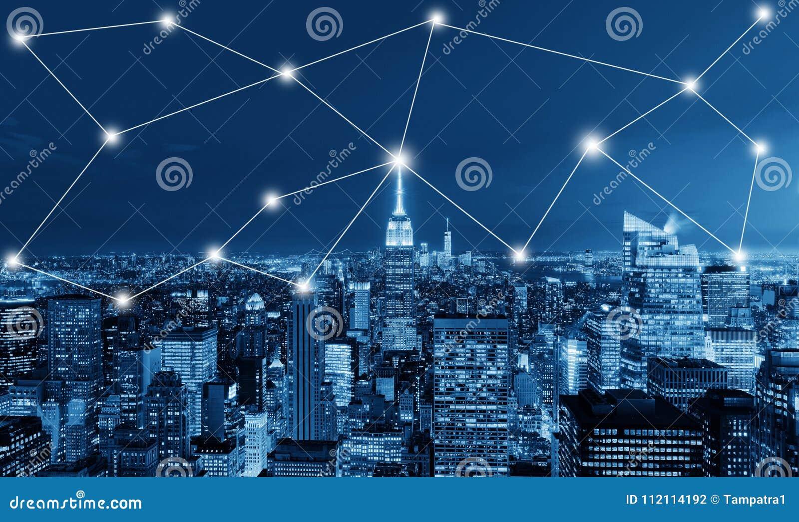 Концепция глобального бизнеса и сетевого подключения в Нью-Йорке