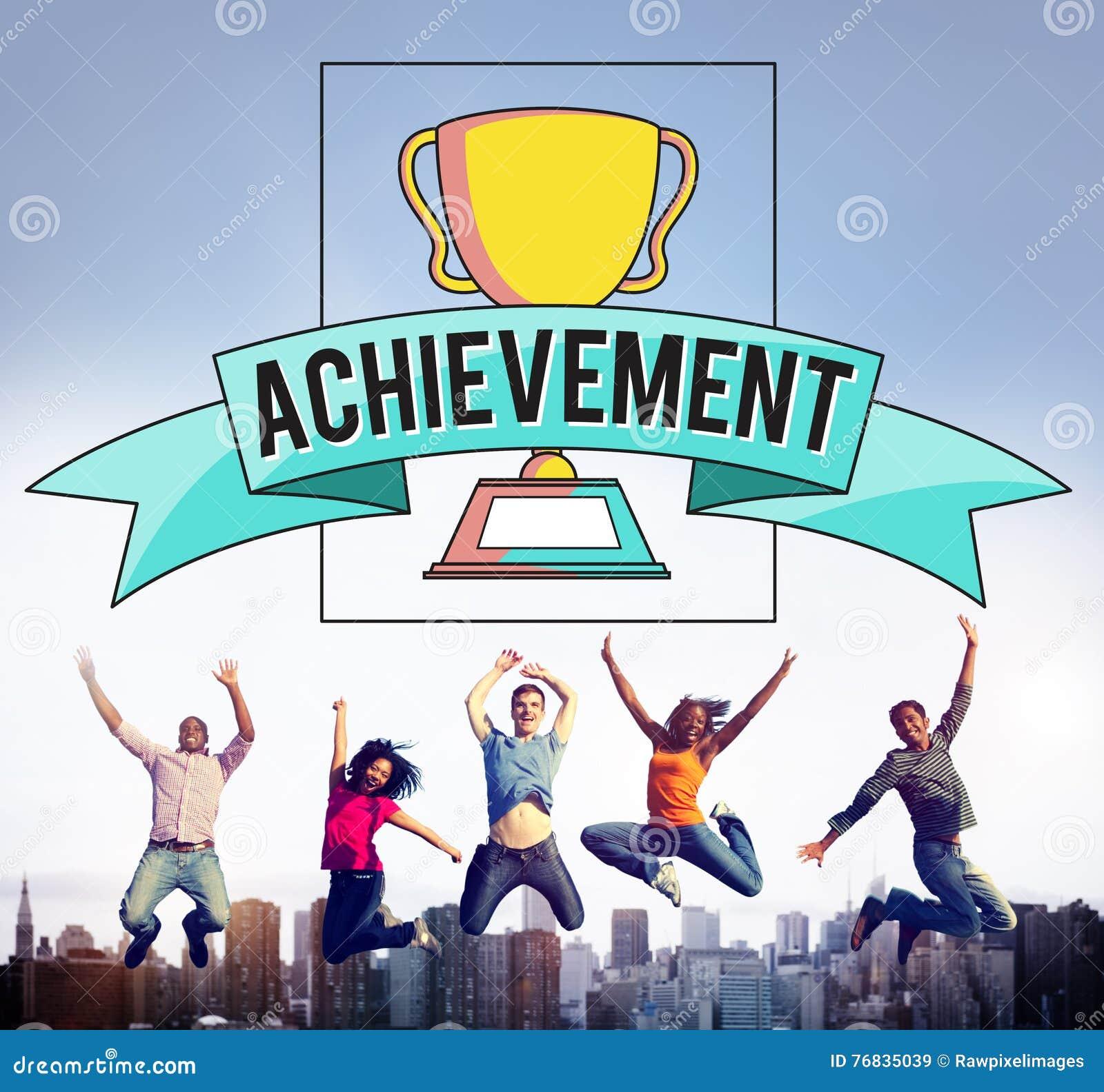 Концепция графика успеха чашки трофея достижения