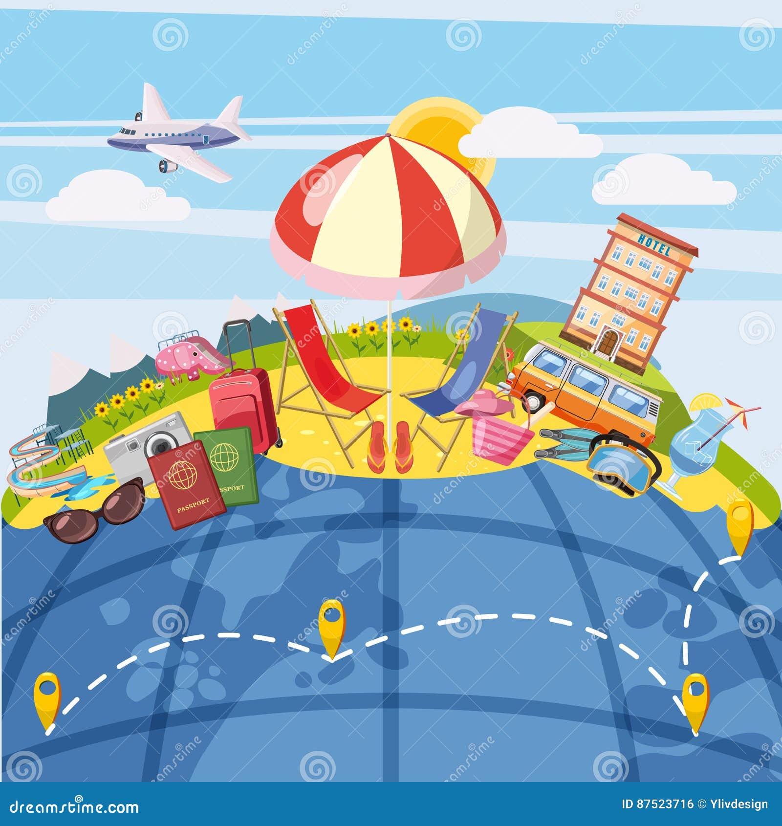Концепция глобальная, стиль туризма перемещения шаржа