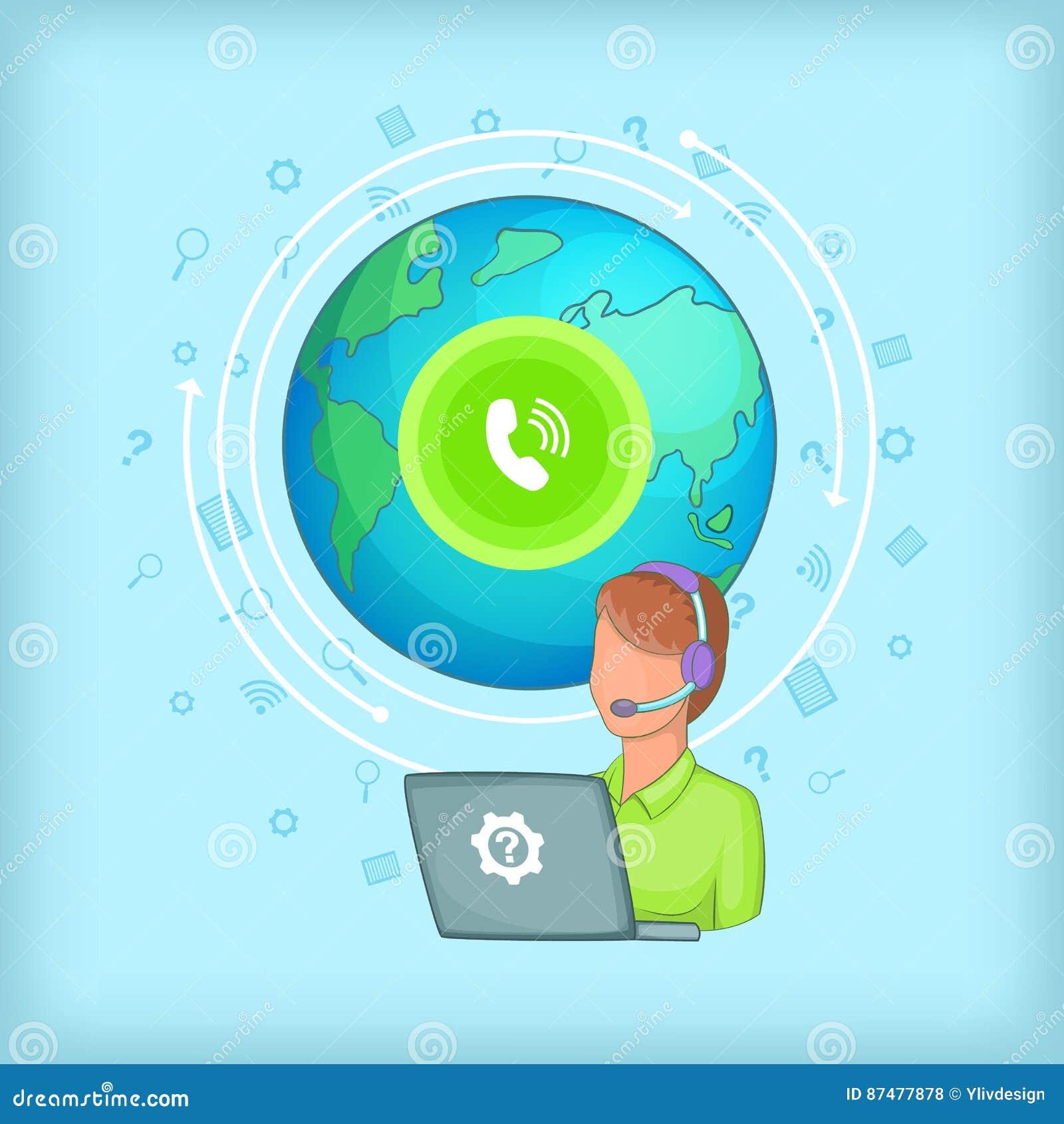 Концепция глобальная, стиль центра телефонного обслуживания шаржа