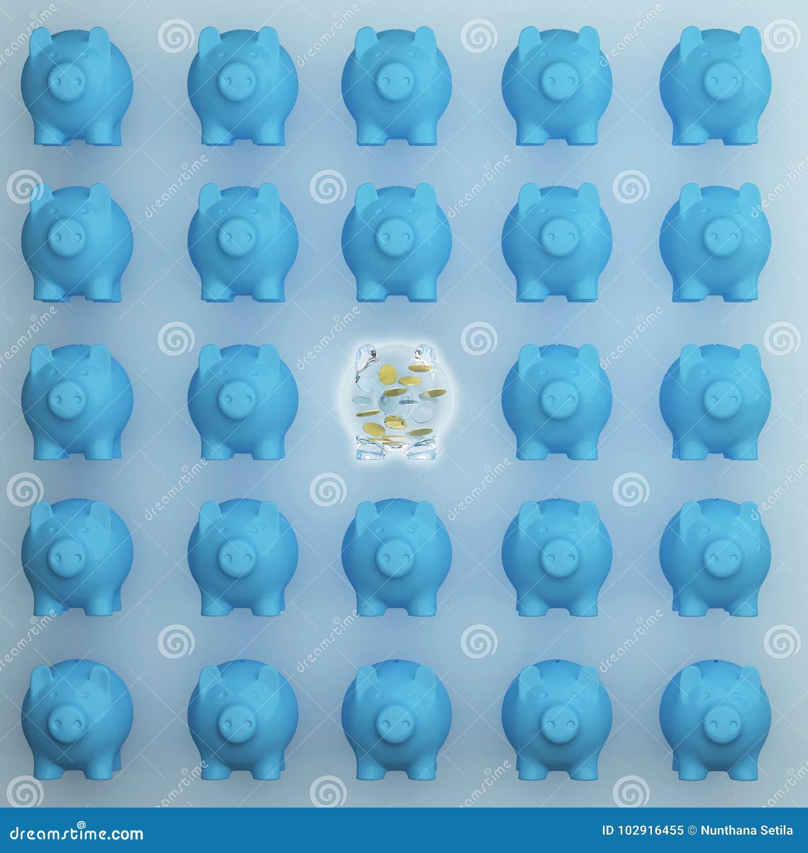 Концепция дела: Выдающее свиньи сбережений одного свиньи стеклянное различные другое на голубой предпосылке минимальная идея конц