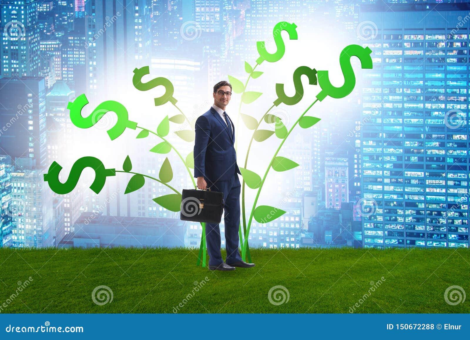 Концепция дерева денег с бизнесменом в растя выгодах