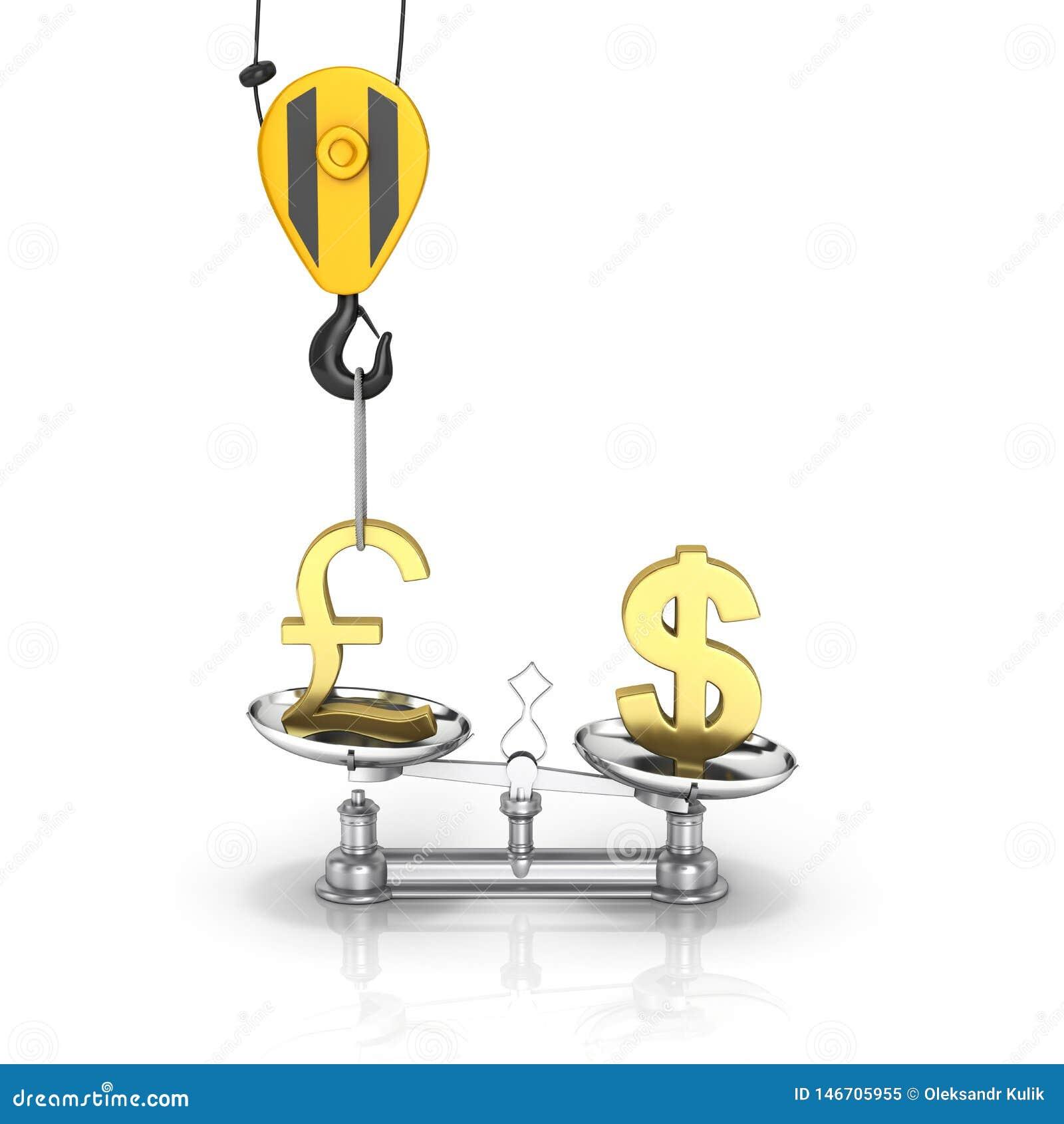 Концепция доллара поддержки курса против евро кран вытягивает фунт вверх и понижает доллар стерлинговый на белой предпосылке 3d