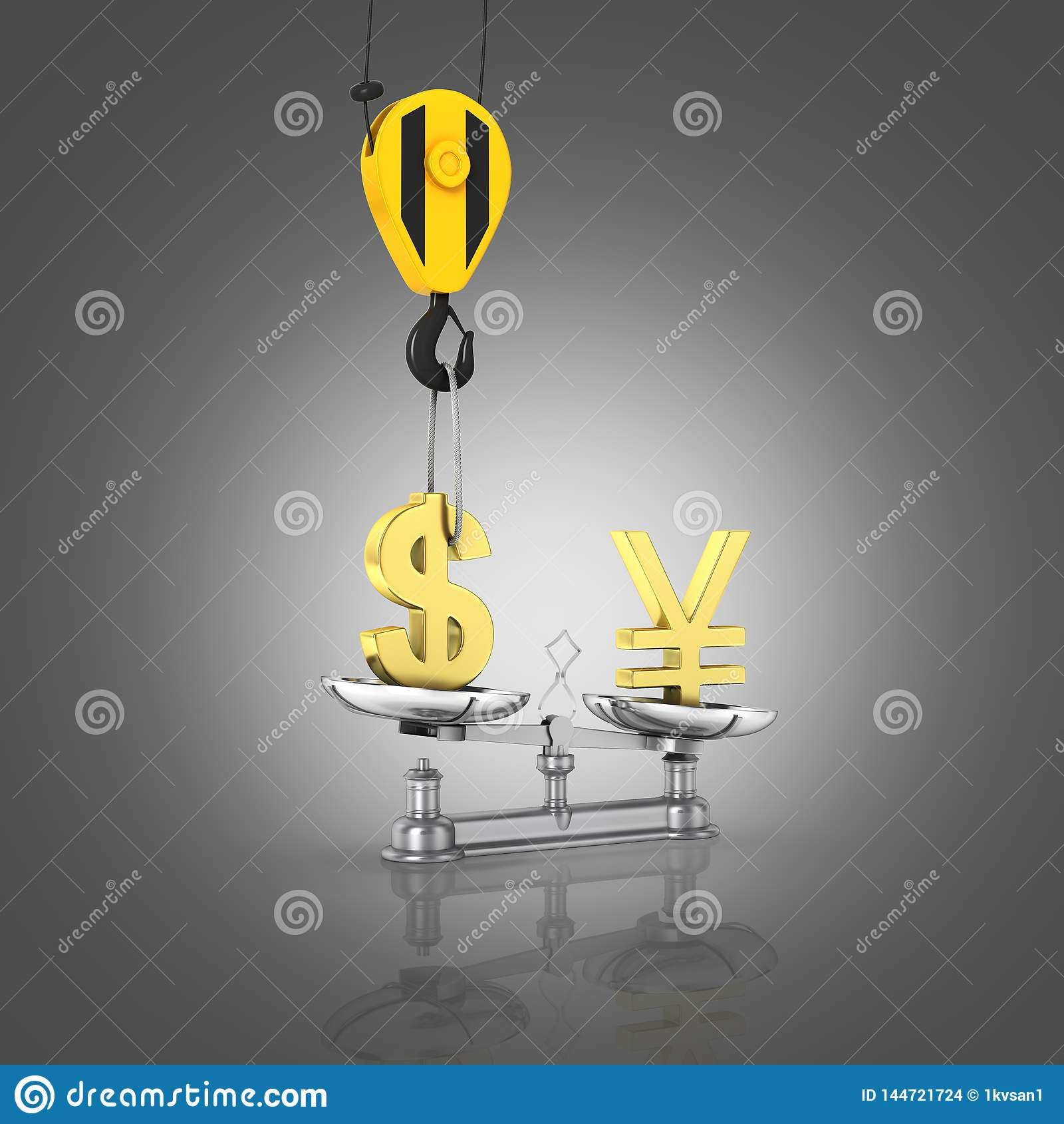 Концепция доллара поддержки курса против иен кран вытягивает доллар в