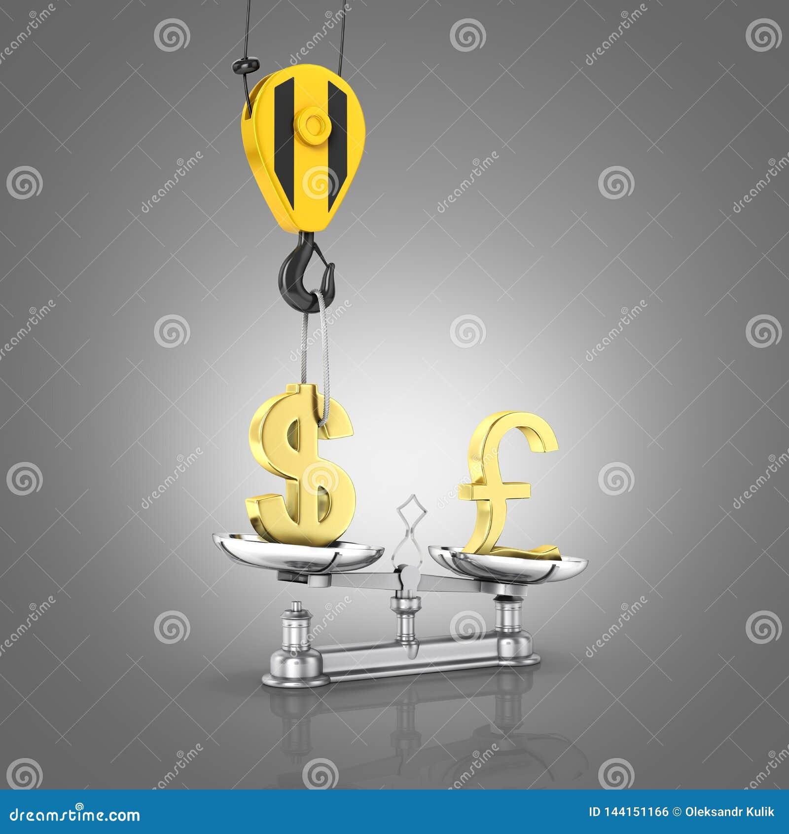 Концепция доллара поддержки курса против фунта кран вытягивает доллар вверх и понижает фунт стерлингов на сером градиенте