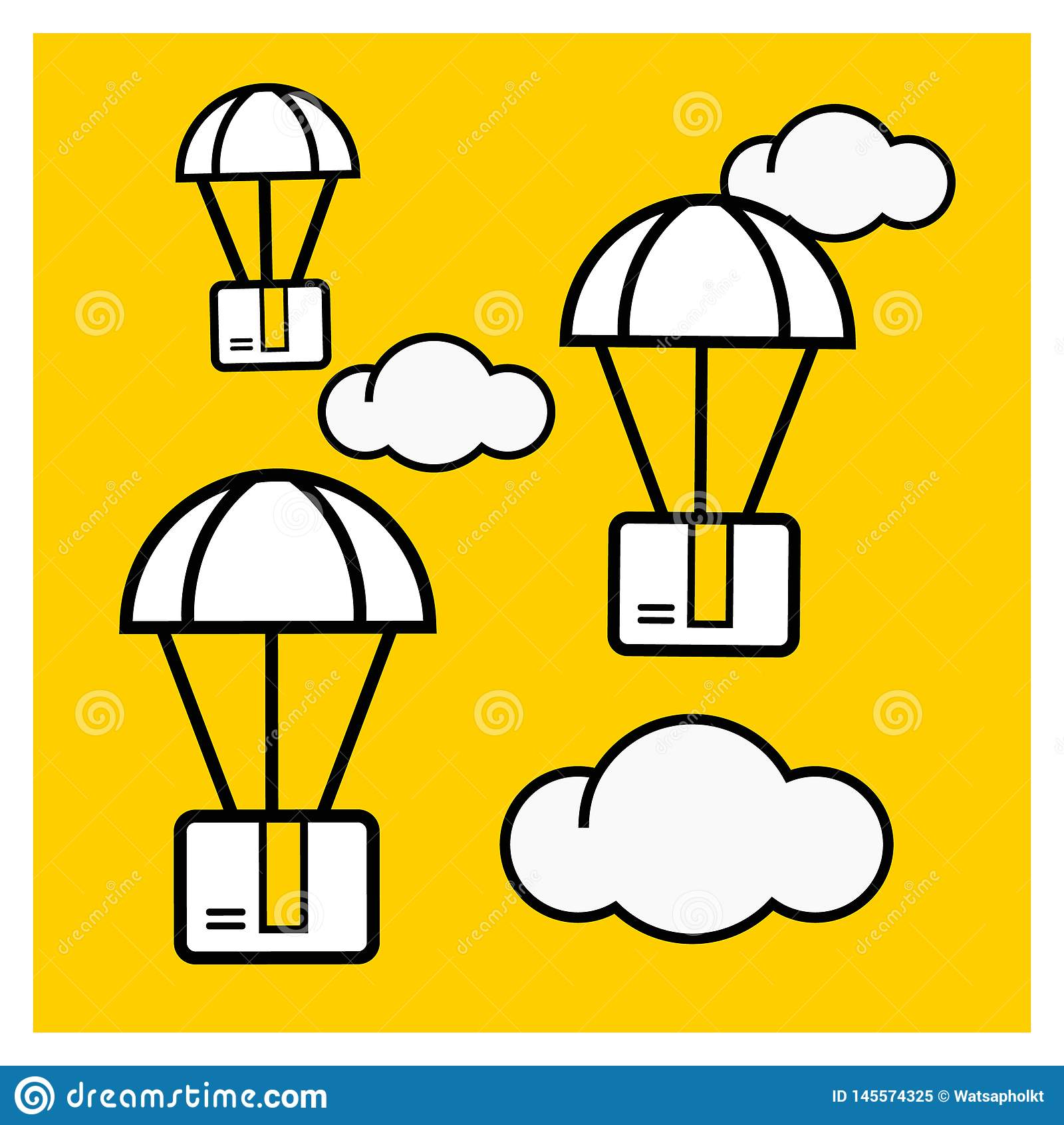 Концепция доставки пакета Пакет коробки летает на парашюты