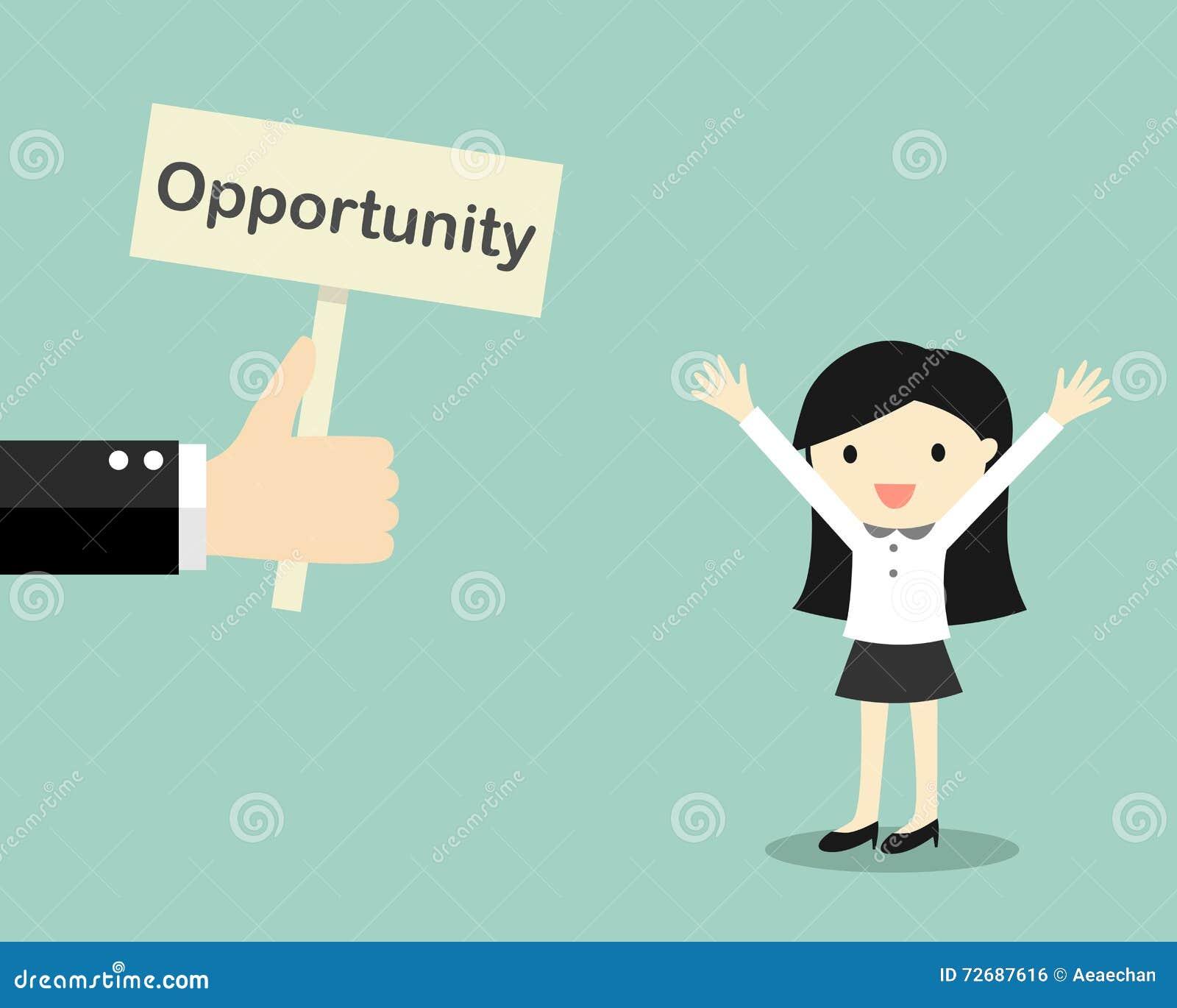 Концепция дела, рука предлагает возможность к бизнес-леди