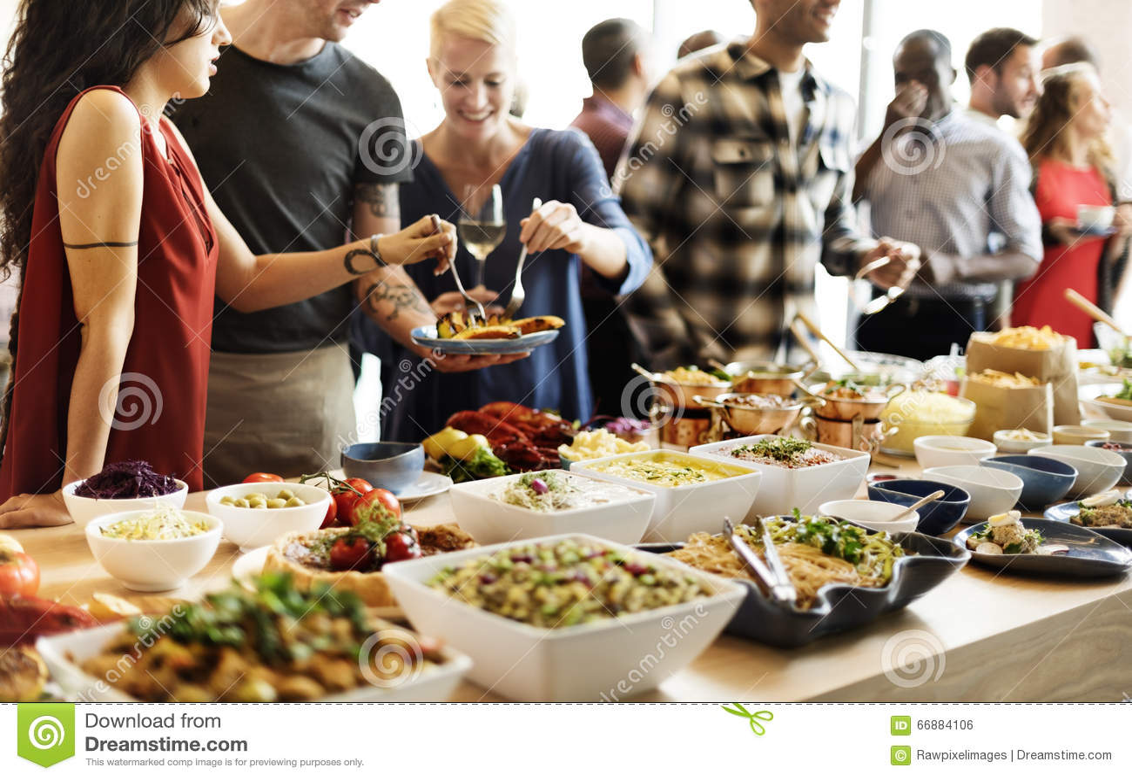 Концепция еды ресторанного обслуживании ресторана обедающего шведского стола