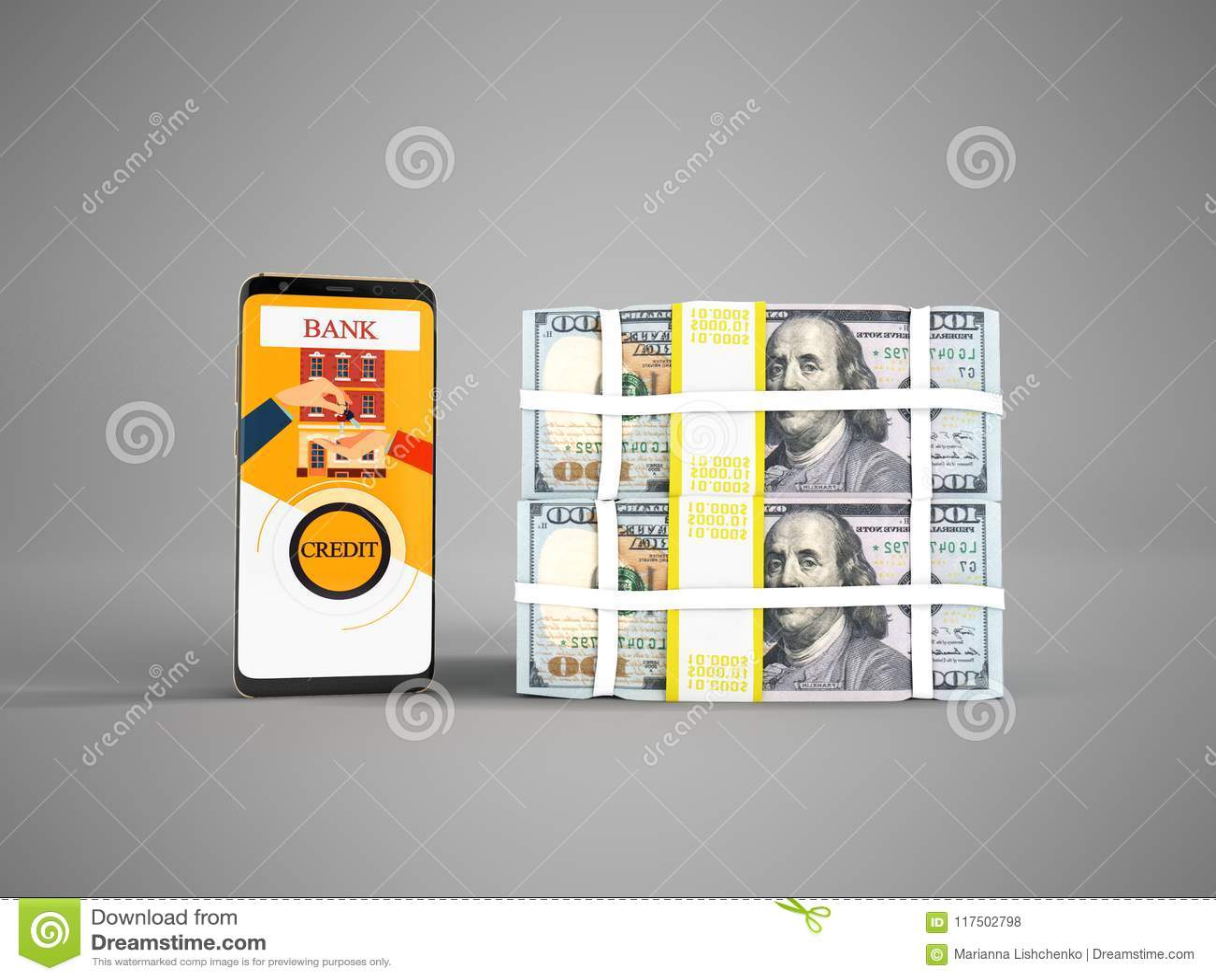 Концепция займа через телефон в банке в долларах 3d представляет на gr