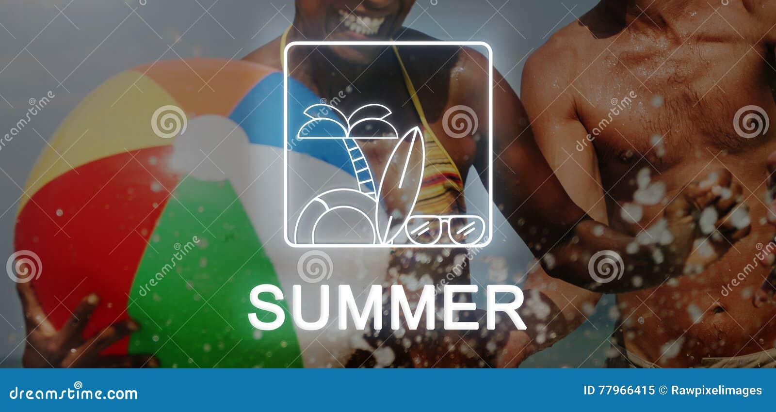 Концепция значка пальмы Surfboard солнечных очков текста лета