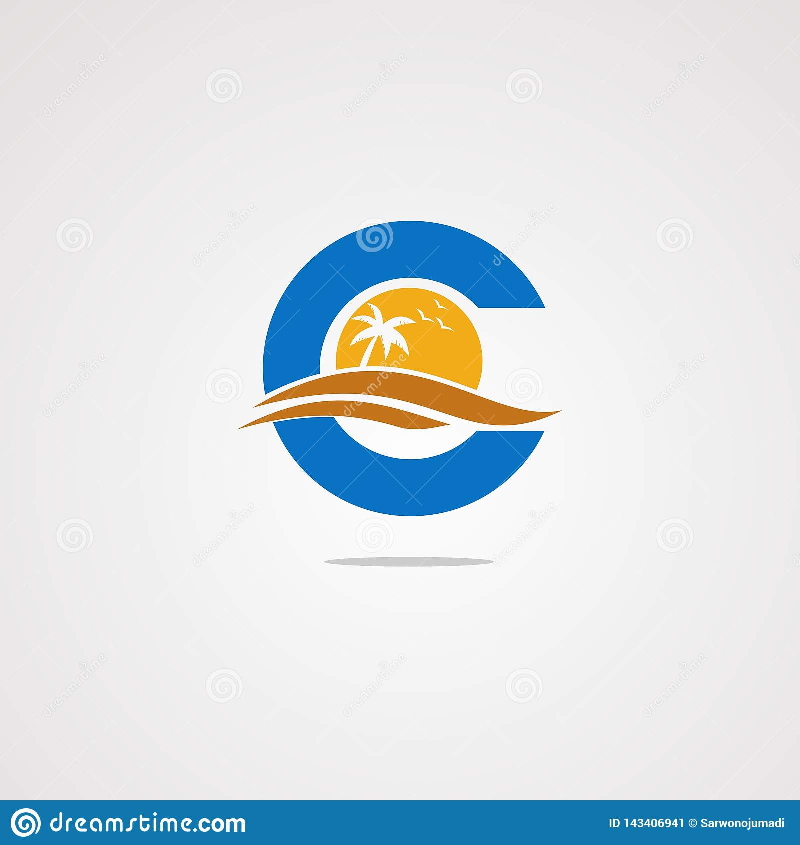 Концепция, значок, элемент, и шаблон вектора логотипа пляжа c письма для компании