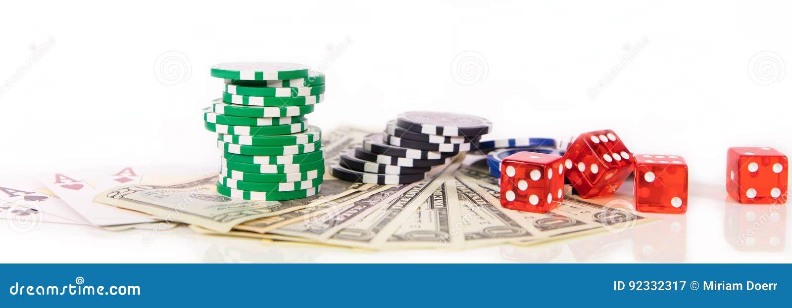 Концепция играя в азартные игры в Лас-Вегас, обломоках казино, играя карточках и d