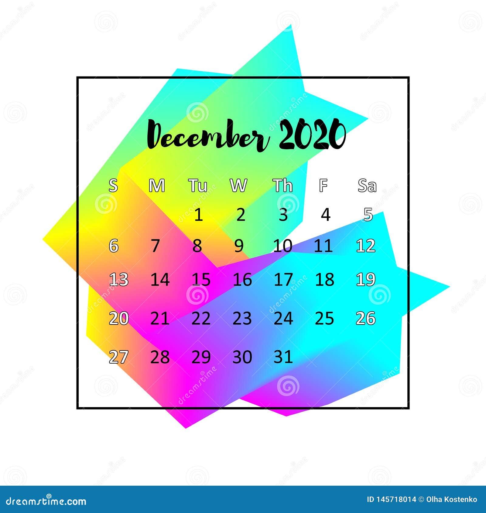 Концепция 2020 конспекта дизайна календаря Декабрь 2020