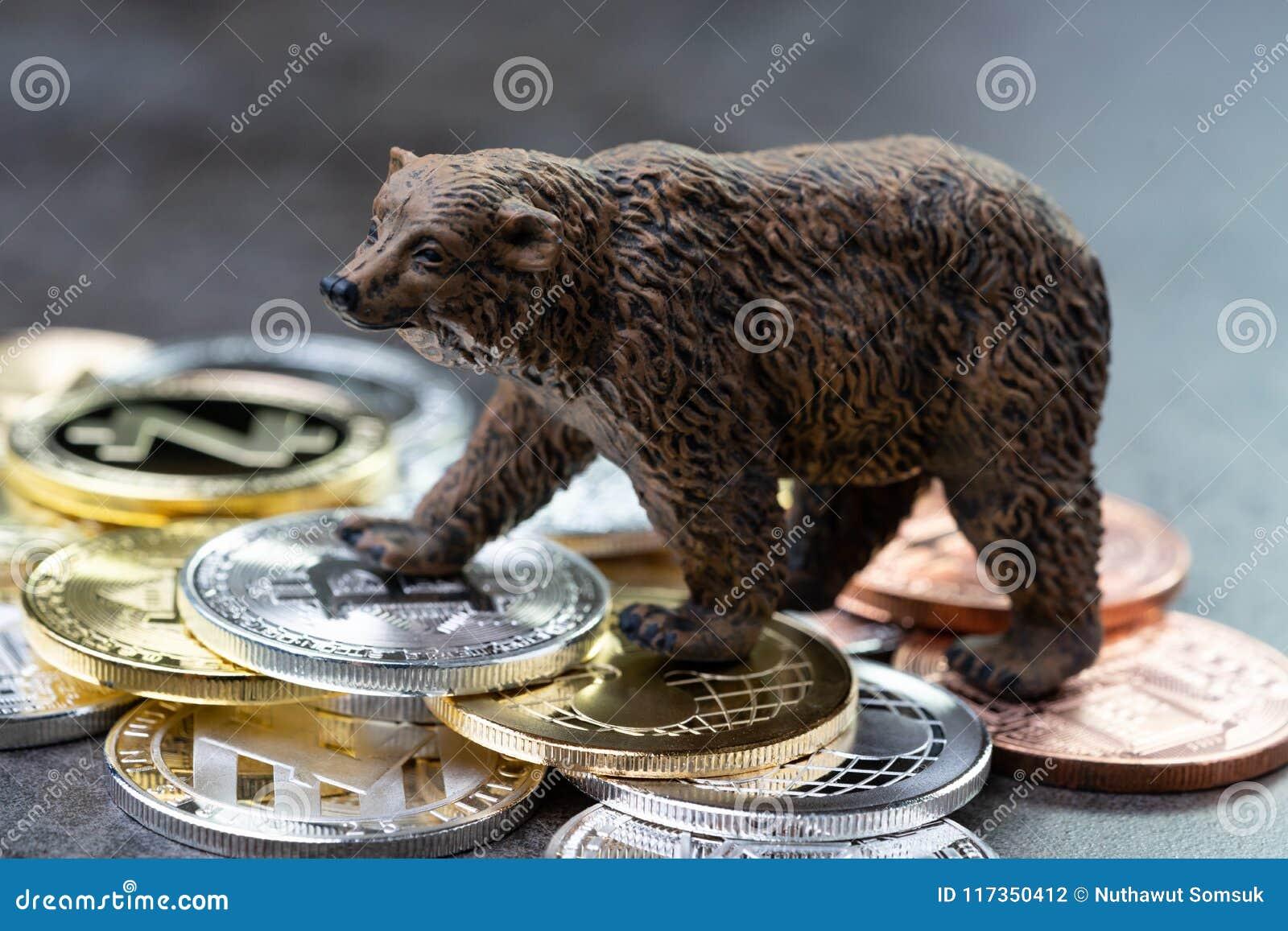 Концепция медвежего рынка, цена вниз или сброс давления понижаясь требования