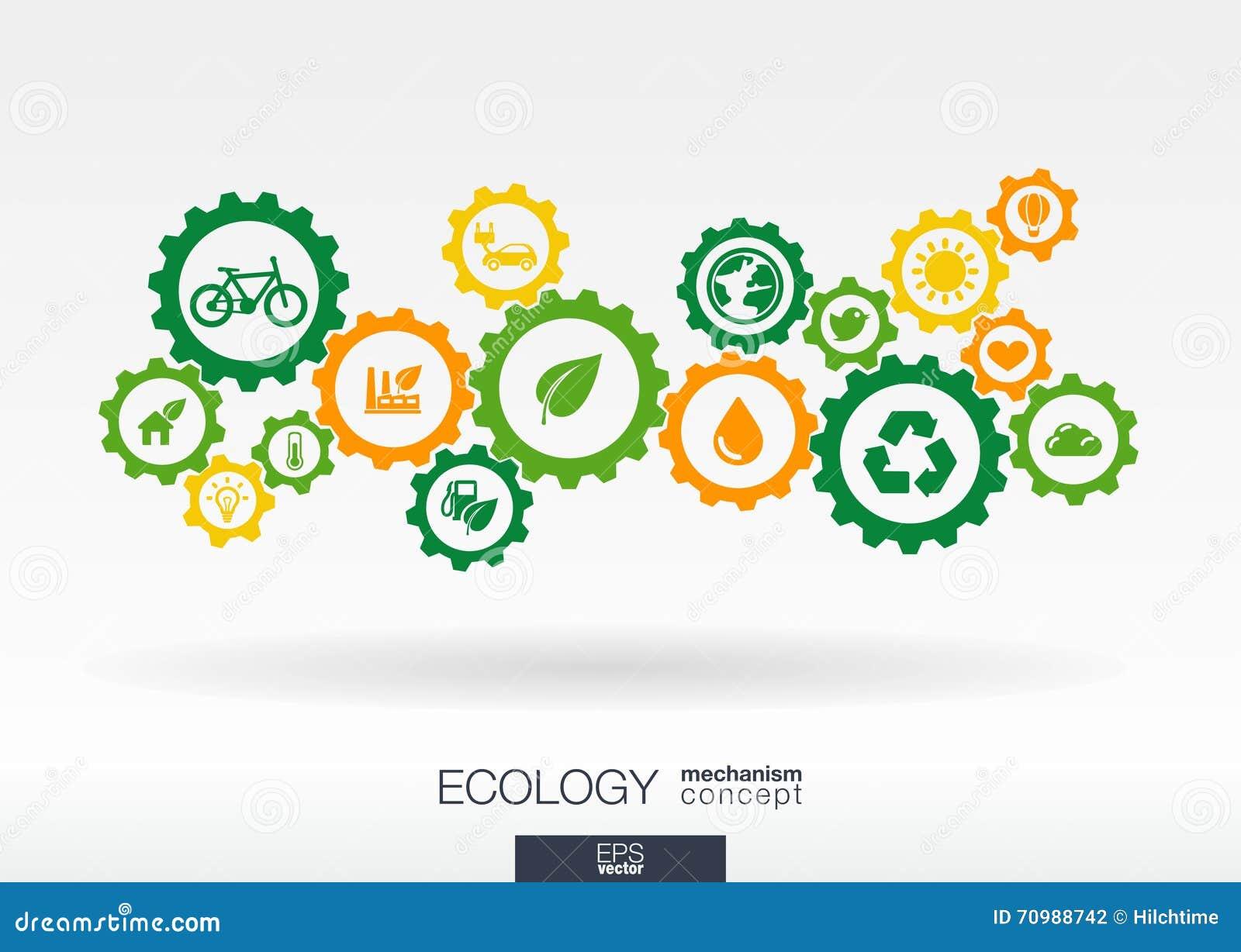 Концепция механизма экологичности Абстрактная предпосылка с соединенными шестернями и значками для энергии eco дружелюбной, окруж