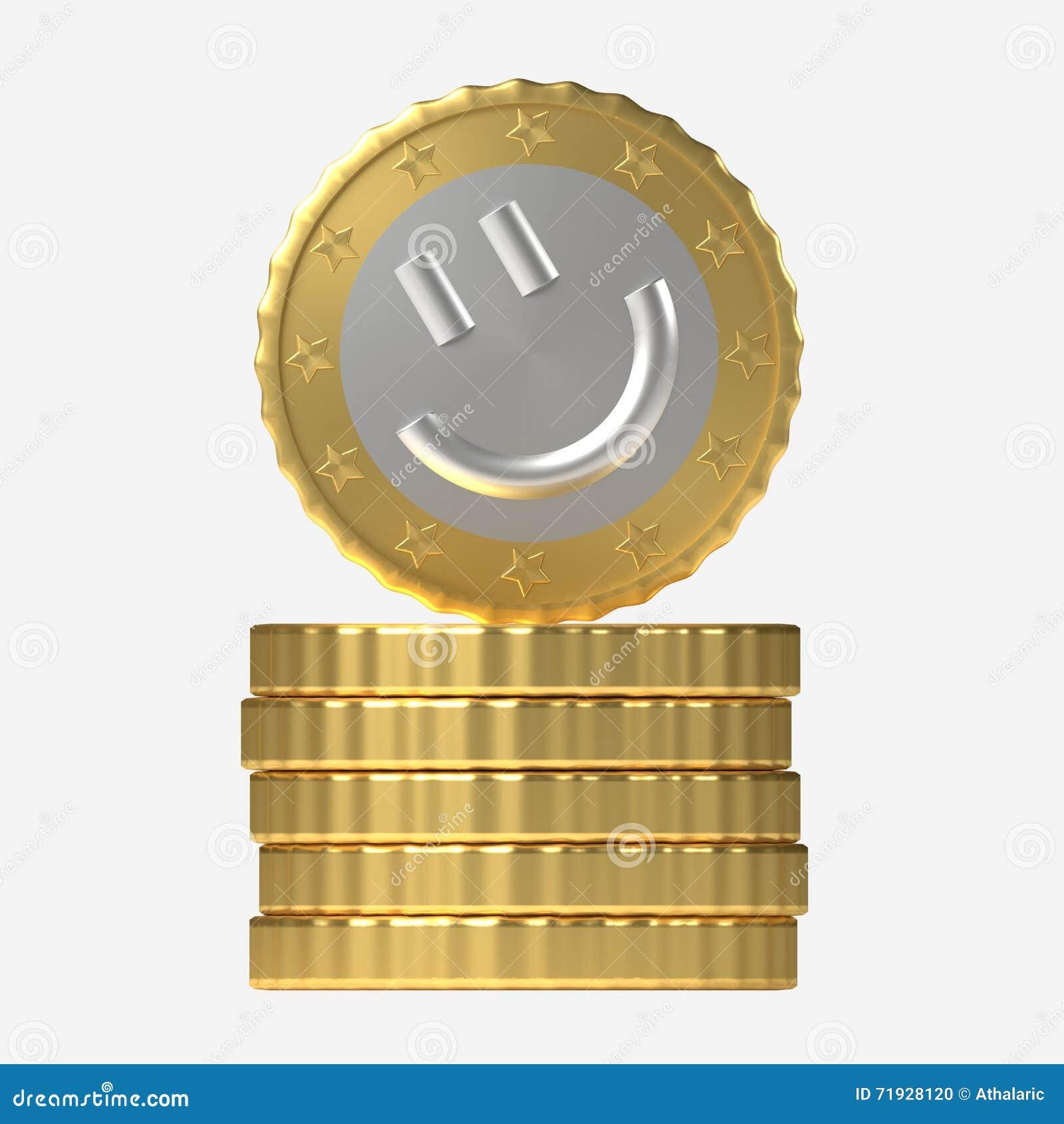 Концепция монетки улыбки на стоге