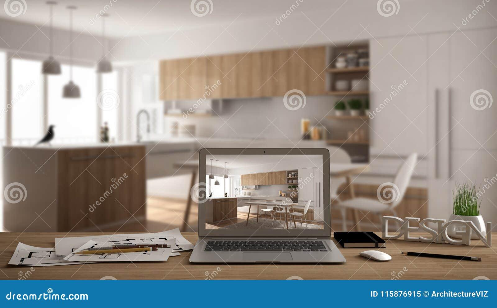 Концепция настольного компьютера архитектора дизайнерская, компьтер-книжка на деревянном столе работы при экран показывая проект