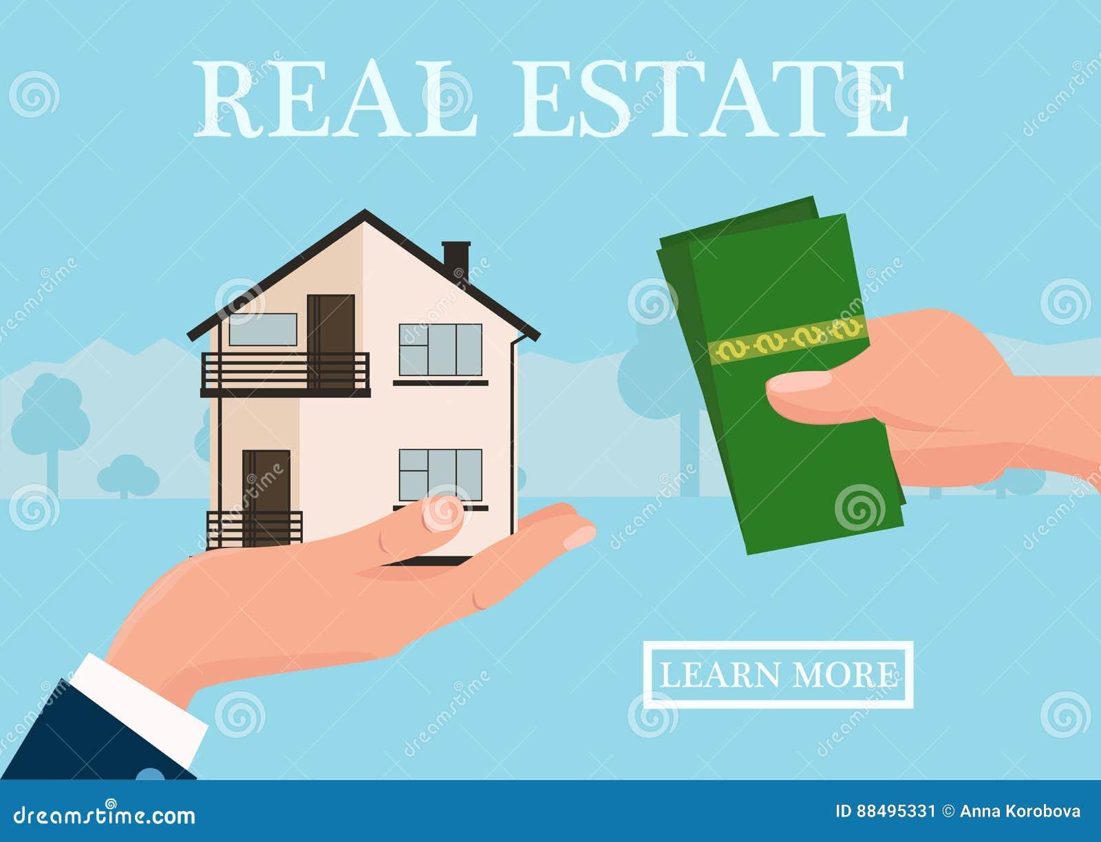 Концепция недвижимости вектора в плоском стиле - рука businessmans давая дом и покупатель дают деньги, знамя сети, дома для