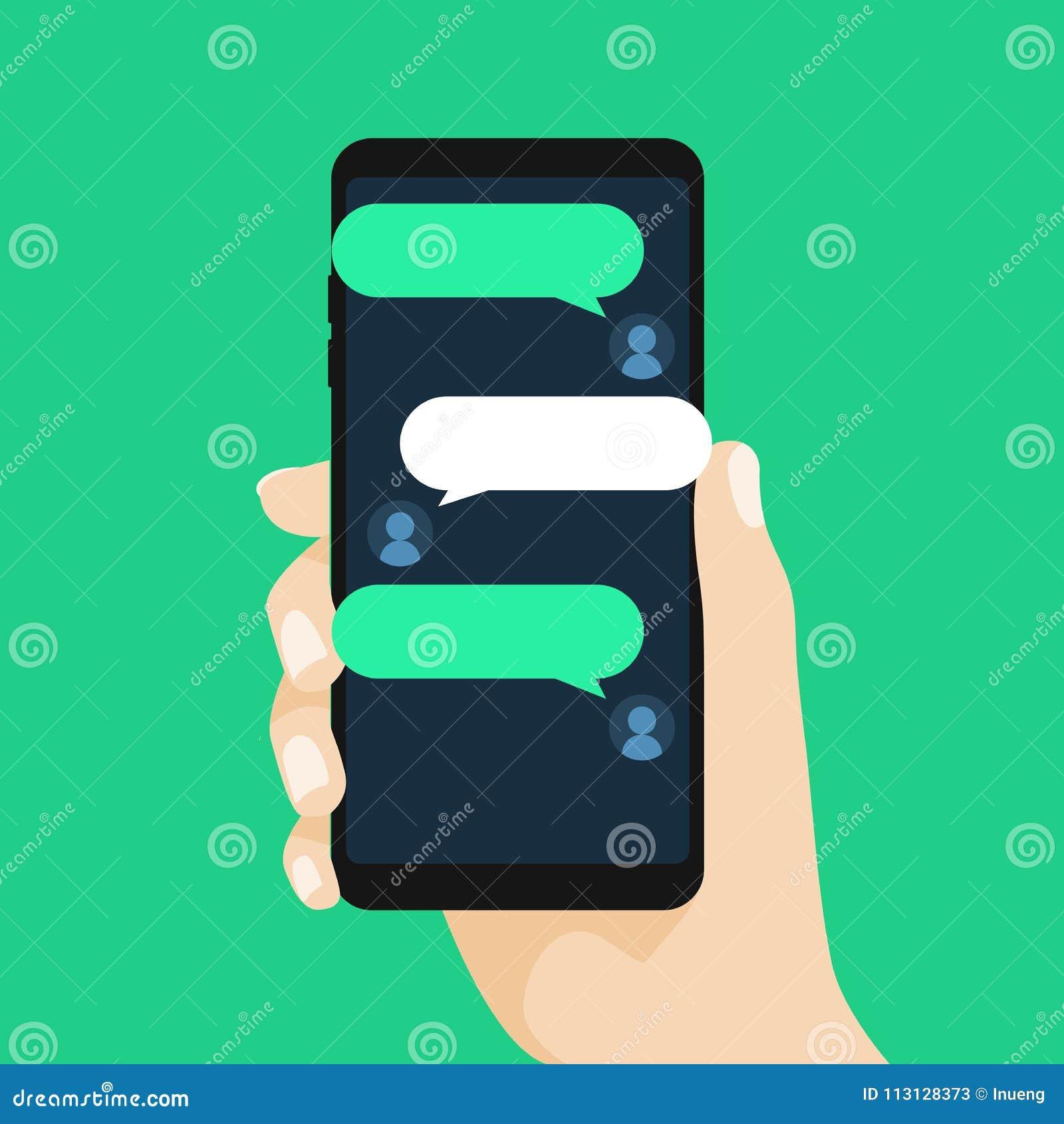 Концепция онлайн переговора с отправляя СМС сообщением беседуя телефон