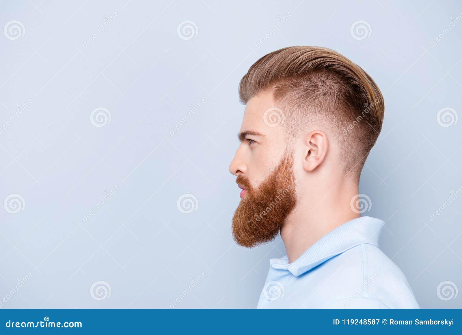 Концепция парикмахерскаи рекламы Портрет профиля бортовой откровенничает