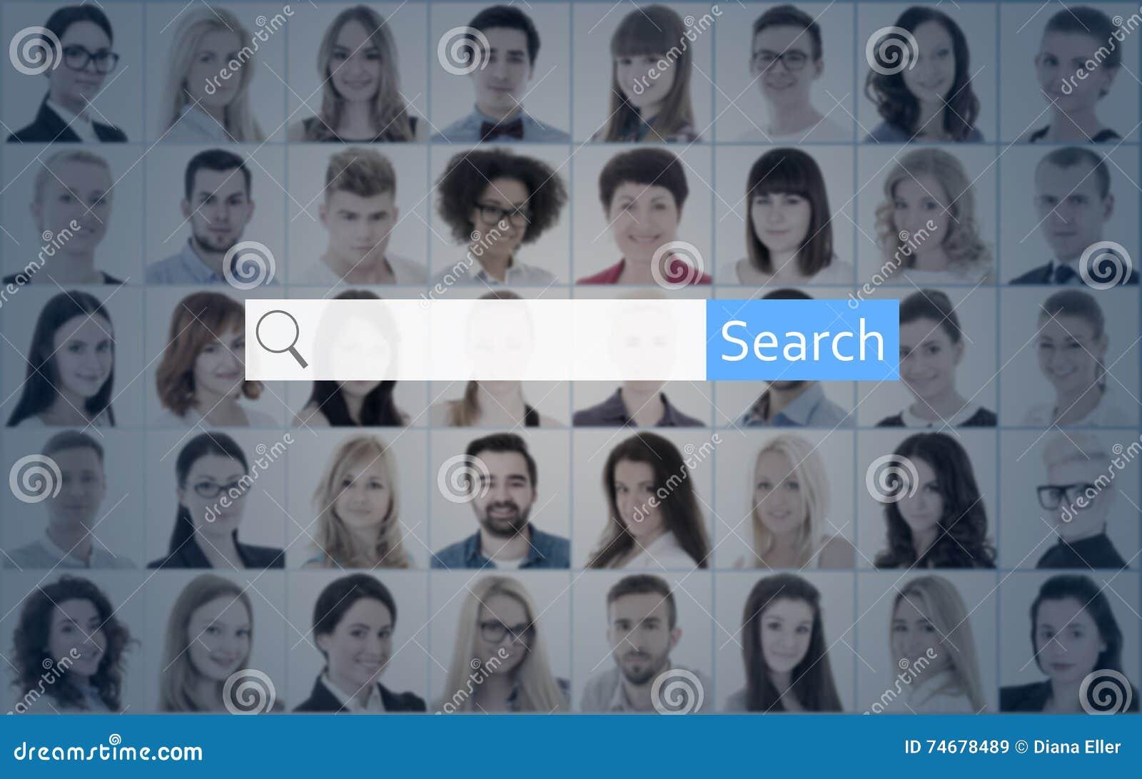 Концепция поиска интернета - ищите портреты бара и людей