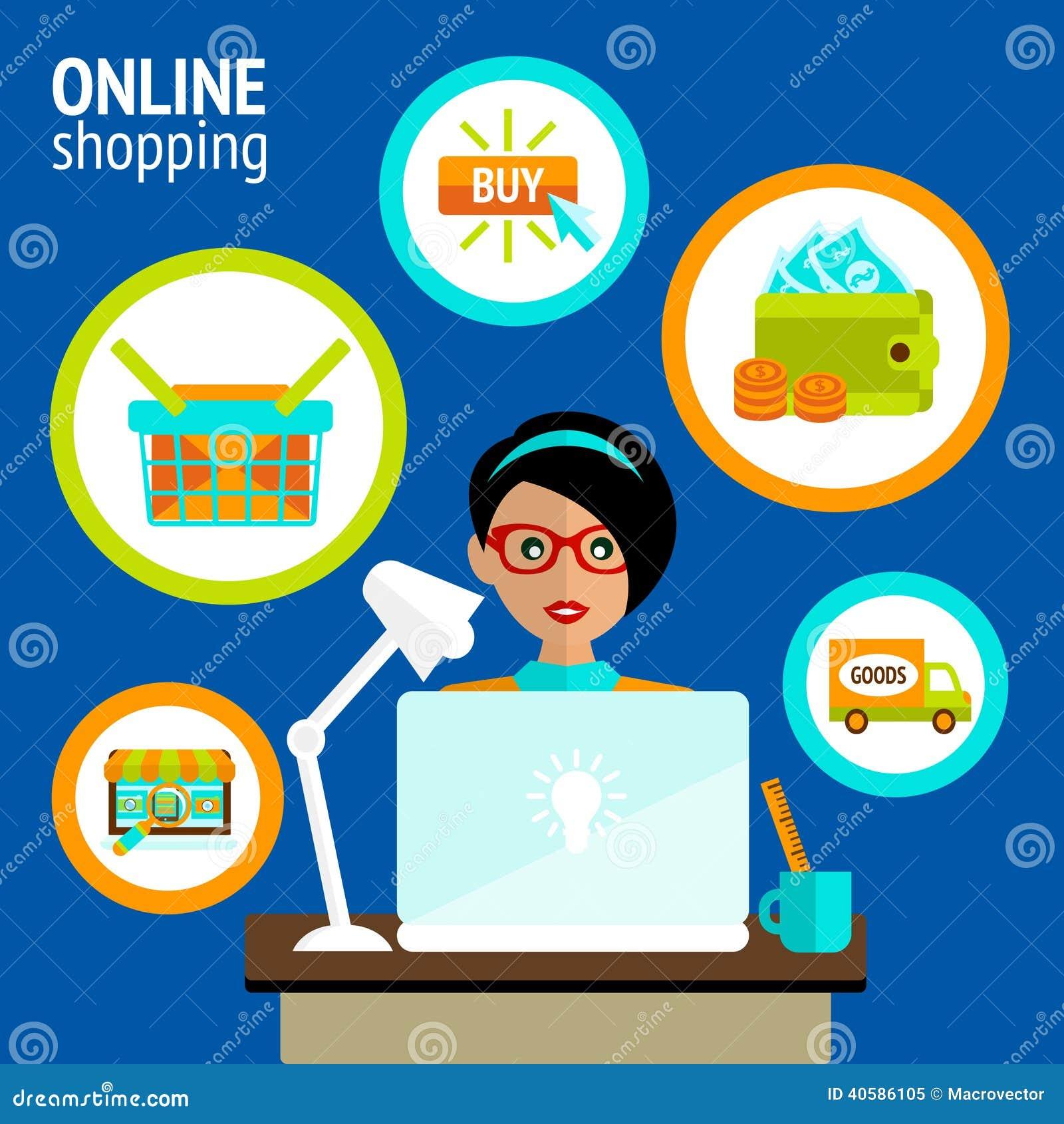 Концепция покупок компьтер-книжки персоны онлайн