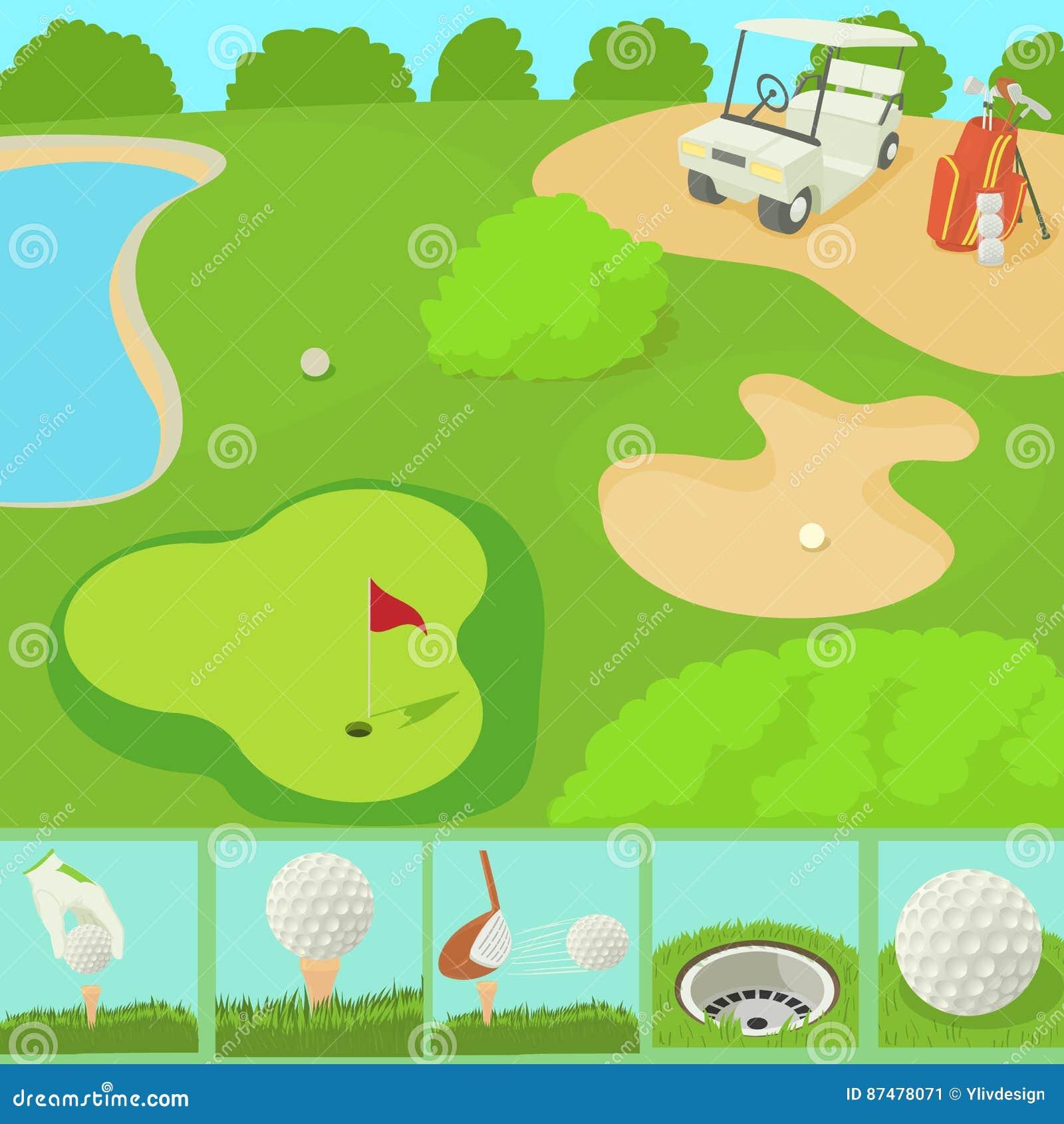 Концепция поля гольфа, стиль шаржа