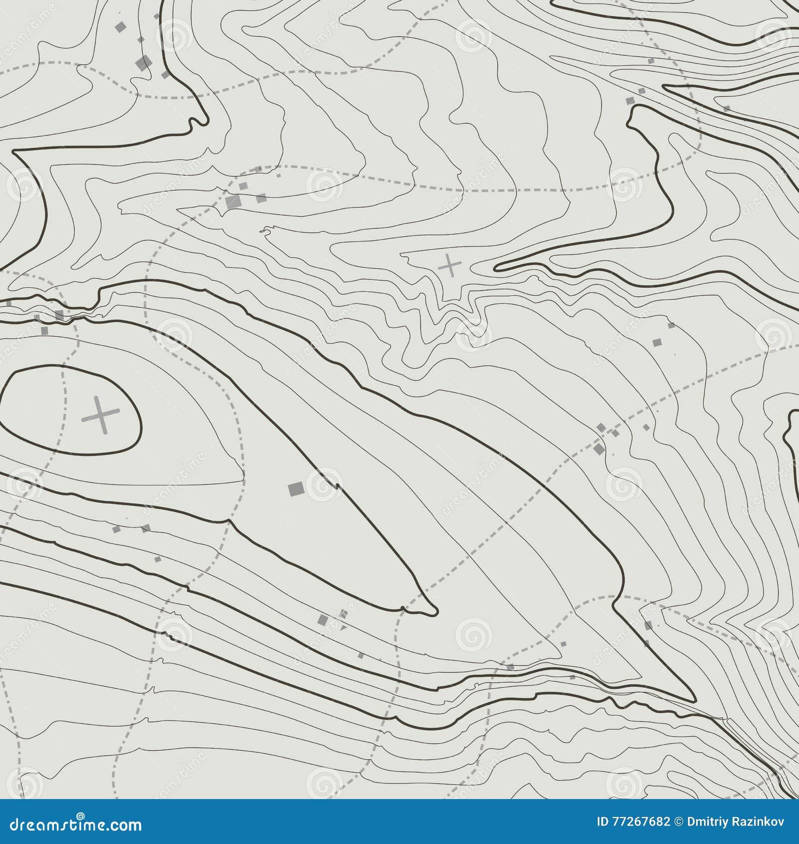 Концепция предпосылки топографической карты с космосом для вашего экземпляра Линии контур топографии искусства, тропа горы