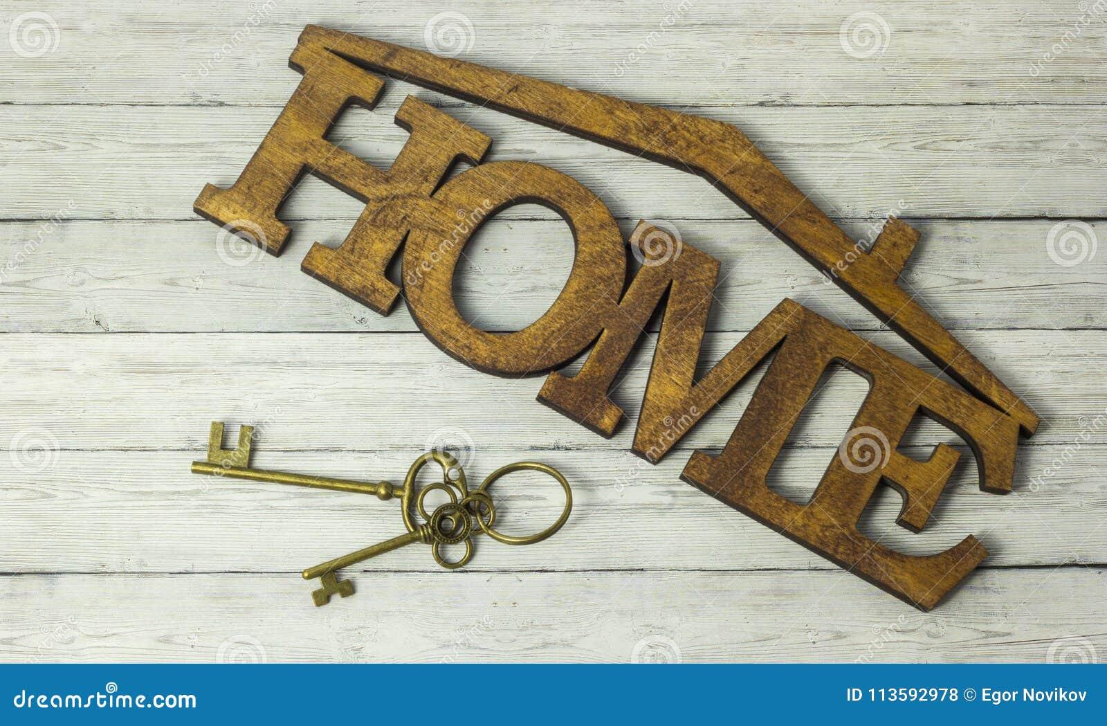 Концепция приема снабжения жилищем, ключа и дома слова на деревянной предпосылке