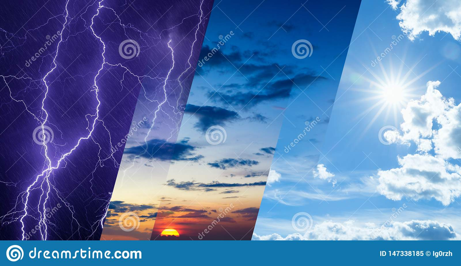 Концепция прогноза погоды, коллаж состояния погоды разнообразия