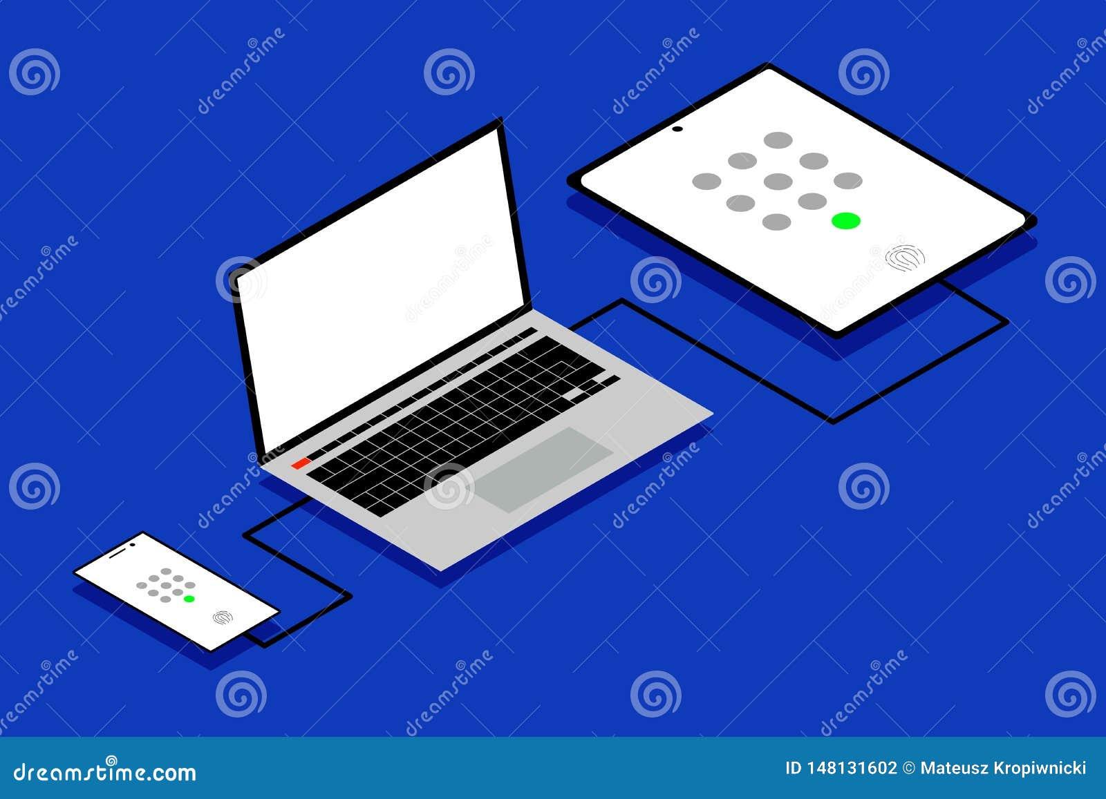 Концепция простого рабочего места ИТ с кодом доступа и биометрическими значками удостоверения подлинности