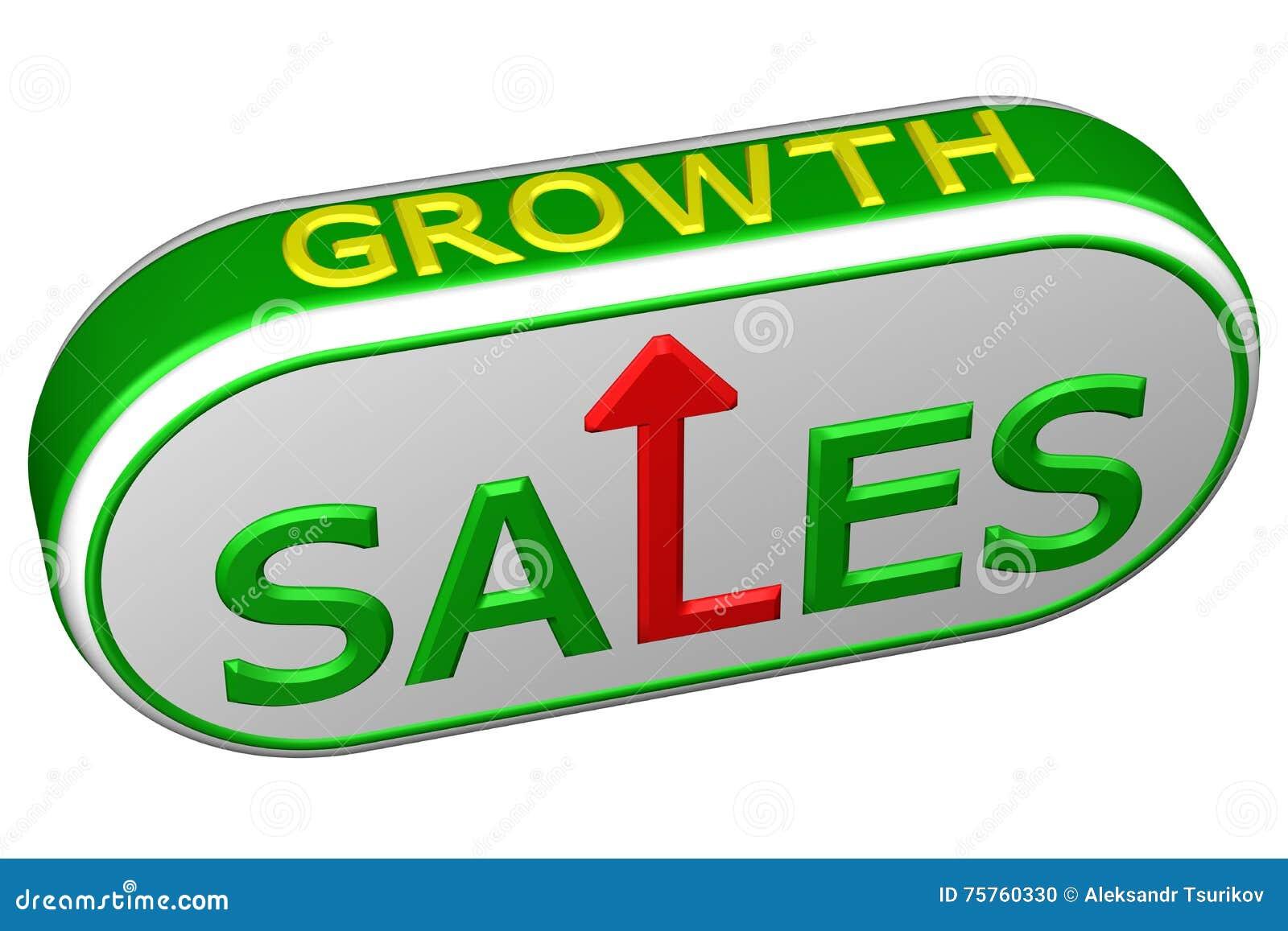 Концепция: продажи и рост слов с стрелкой перевод 3d