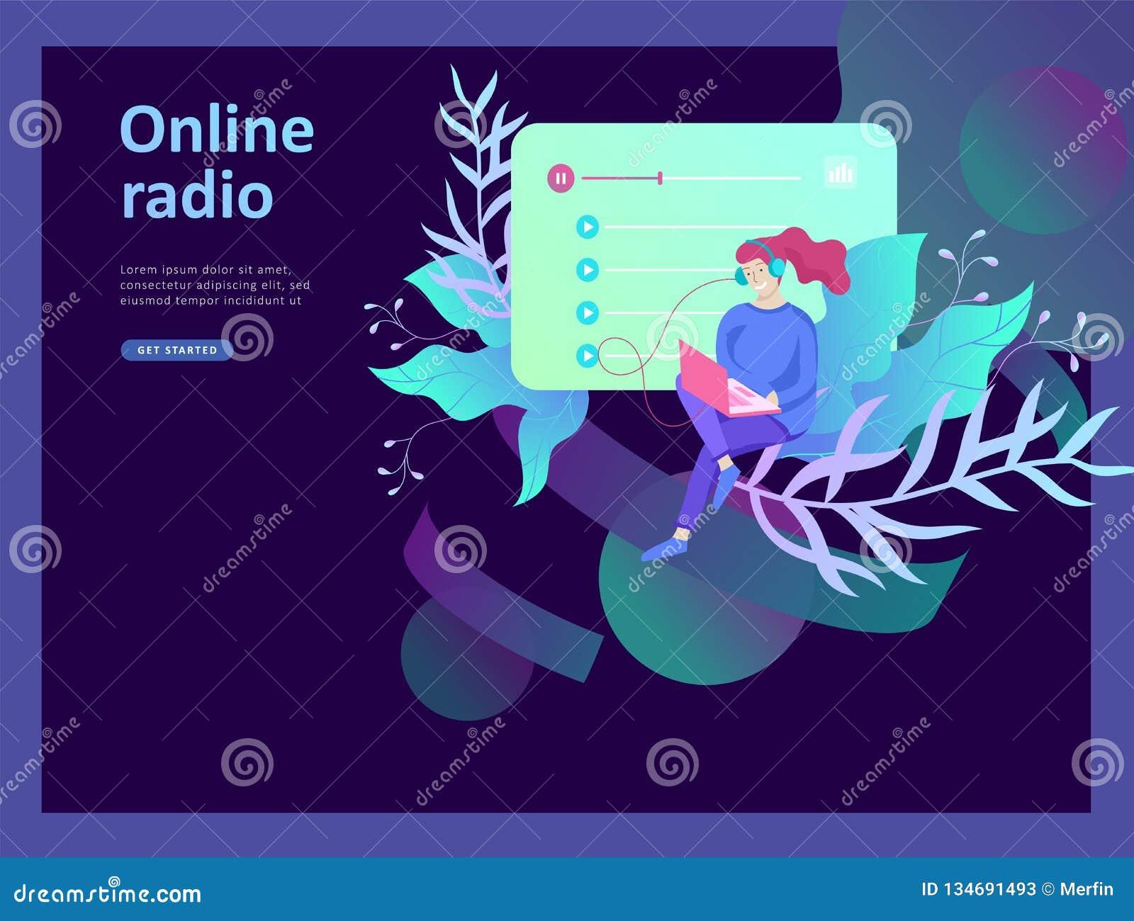 Концепция радио интернета онлайн течь слушать, люди ослабляет для того чтобы слушать танец Применения музыки, репертуар онлайн