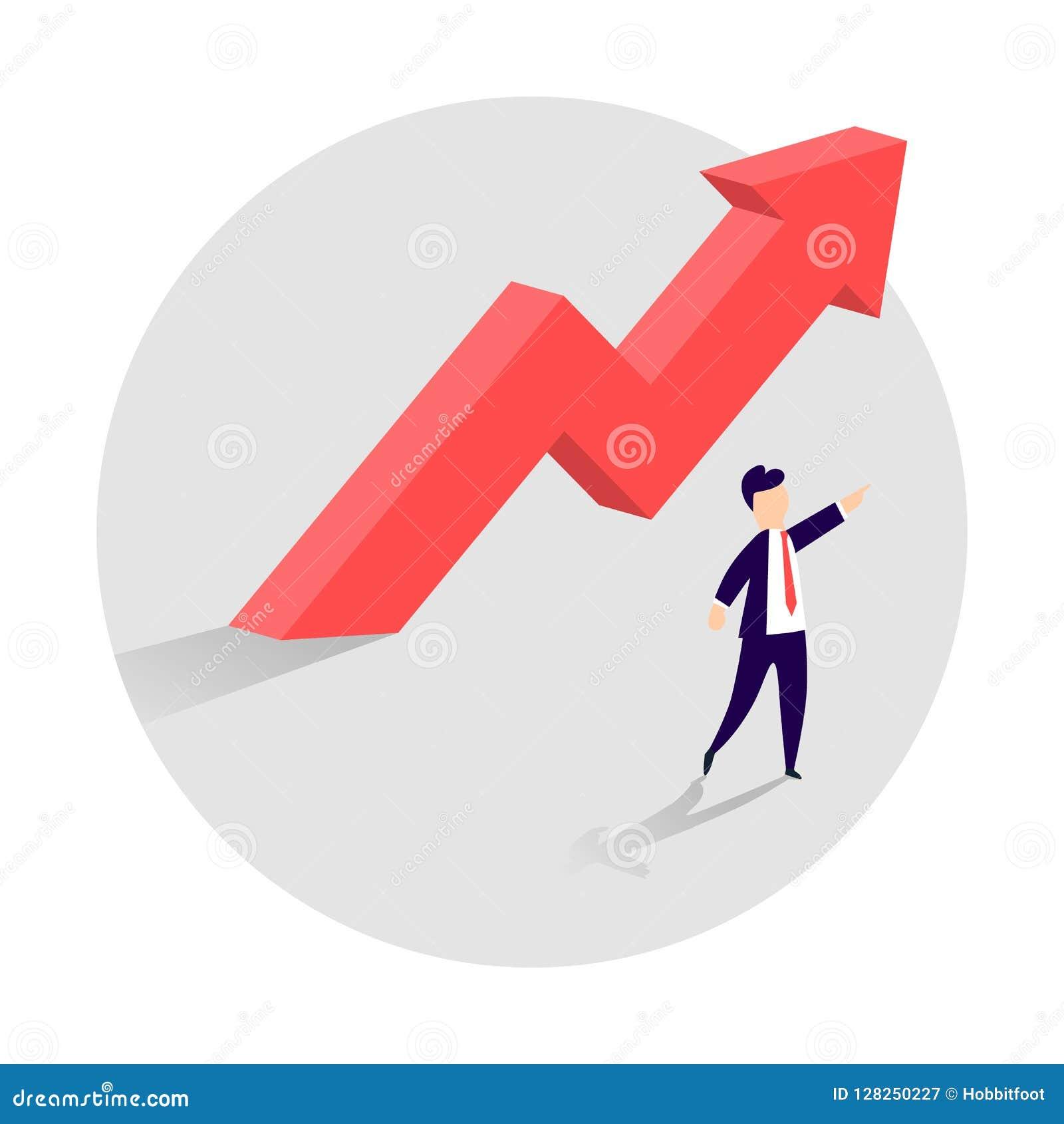 Концепция роста дела при верхняя стрелка и бизнесмен показывая направление Символ успеха, достижения