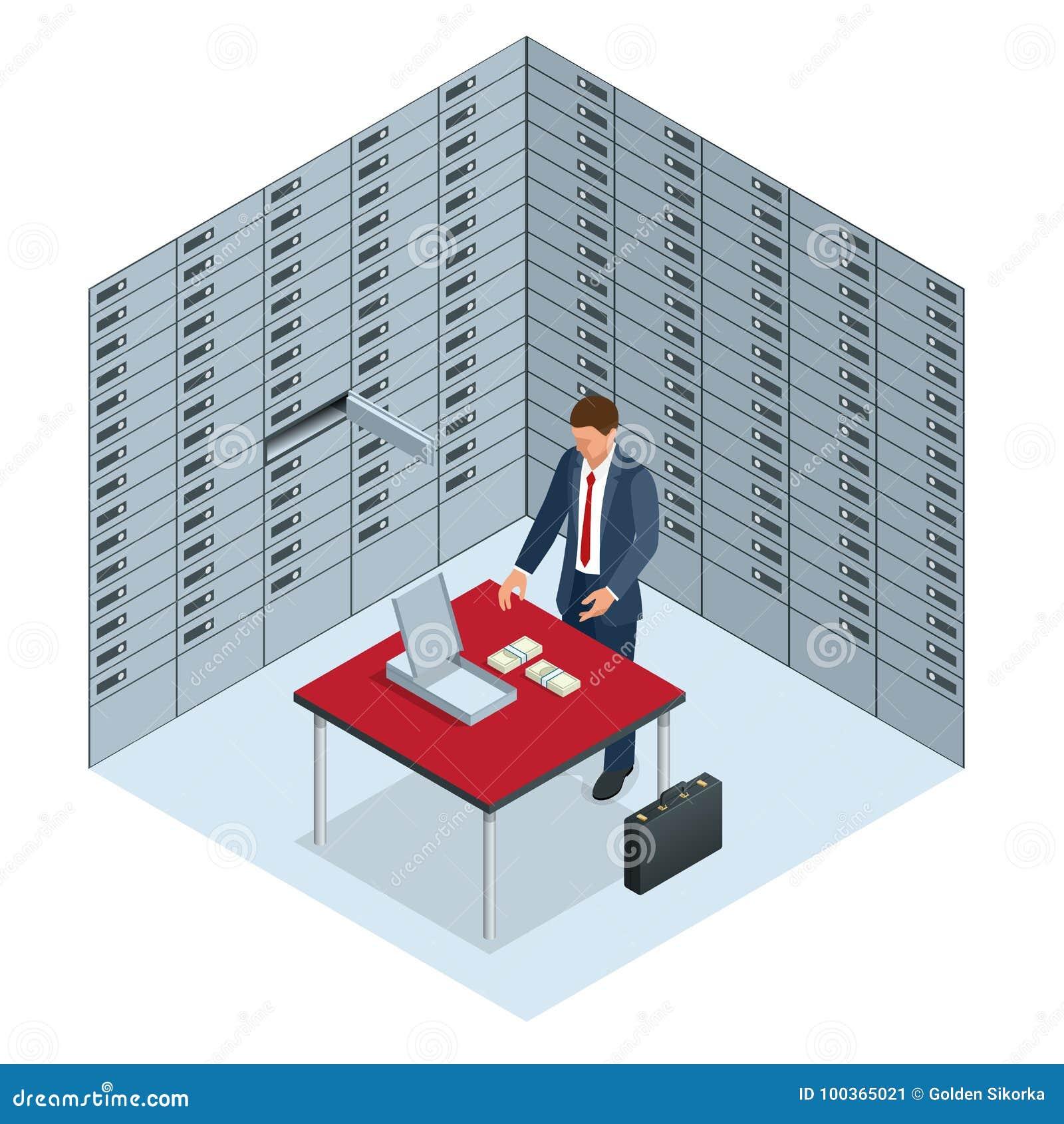 Концепция сейфов и безопасности человек раскрыла его клетку банка и рассматривает деньги открытым сейфом с