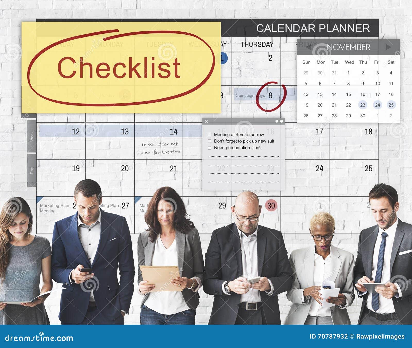 Концепция события план-графика назначения контрольного списока