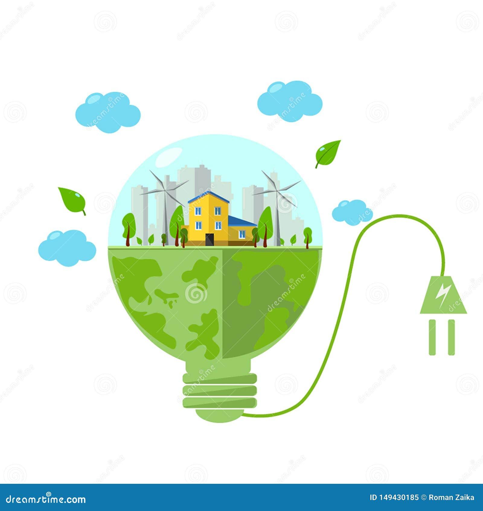 концепция сохранения зеленой энергии для электрических лампочек , иллюстрации