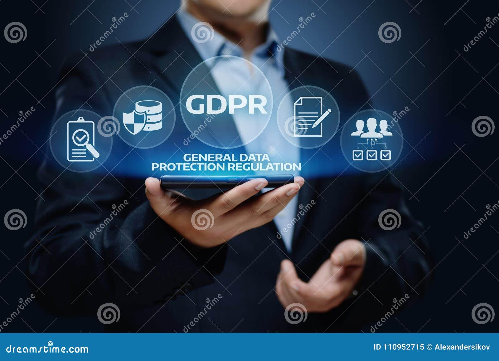 Концепция технологии интернета дела общей защиты данных GDPR регулированная