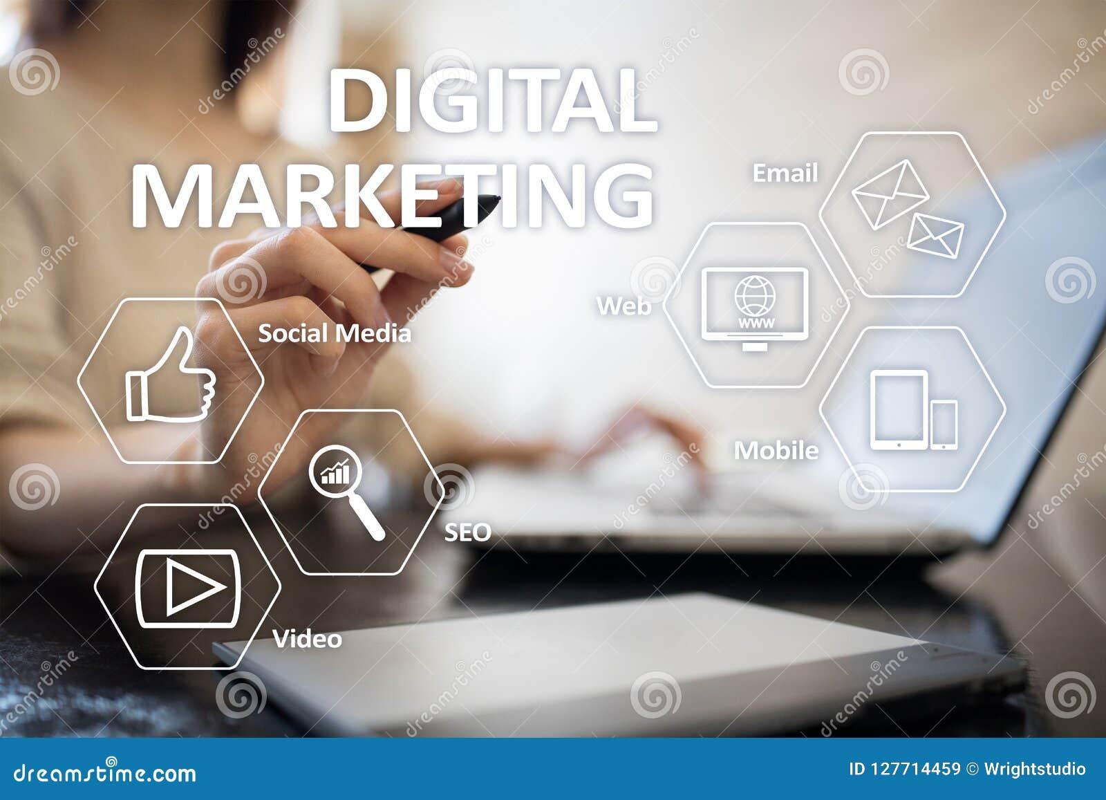 Концепция технологии маркетинга цифров Интернет Онлайн Поисковая оптимизация SEO SMM рекламировать