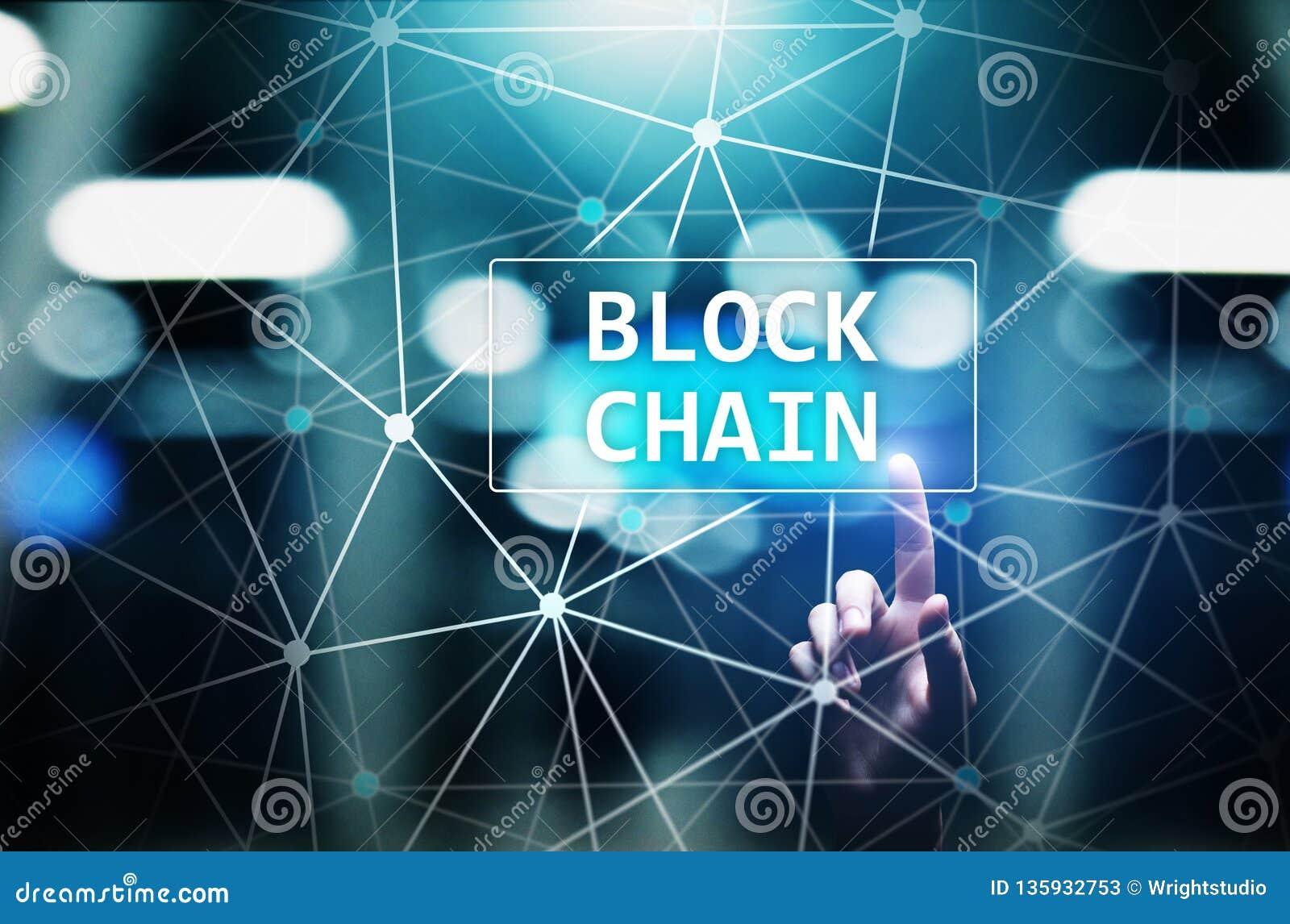 Концепция технологии Blockchain на виртуальном экране Тайнопись и cryptocurrency