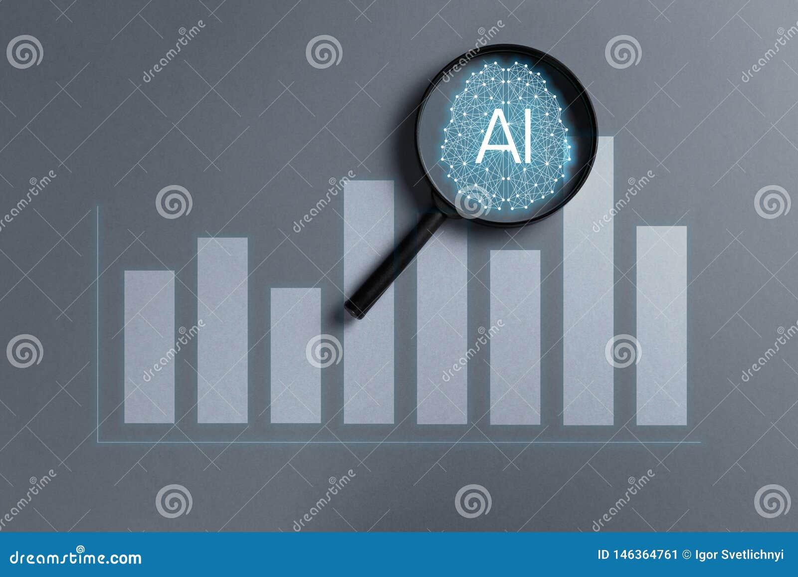 Концепция увеличила аналитика Аналитик дела и финансовая концепция технологии