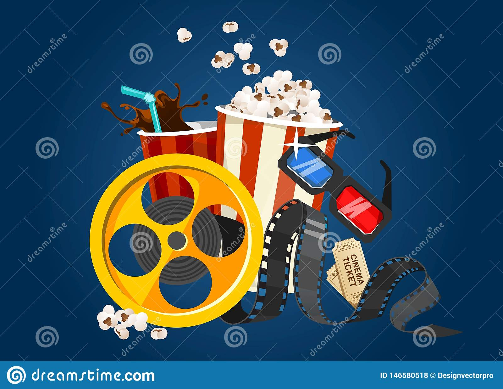 Концепция фильма фильма с попкорном, стеклами 3D, лентой и билетами Иллюстрация кино для киноиндустрии Еда и элементы летая