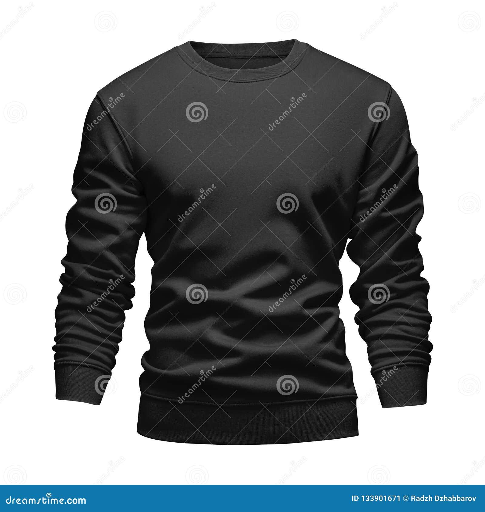 Концепция фуфайки черноты модель-макета пробела людей волнистая с длинными рукавами изолировала белую предпосылку Пуловер шаблона