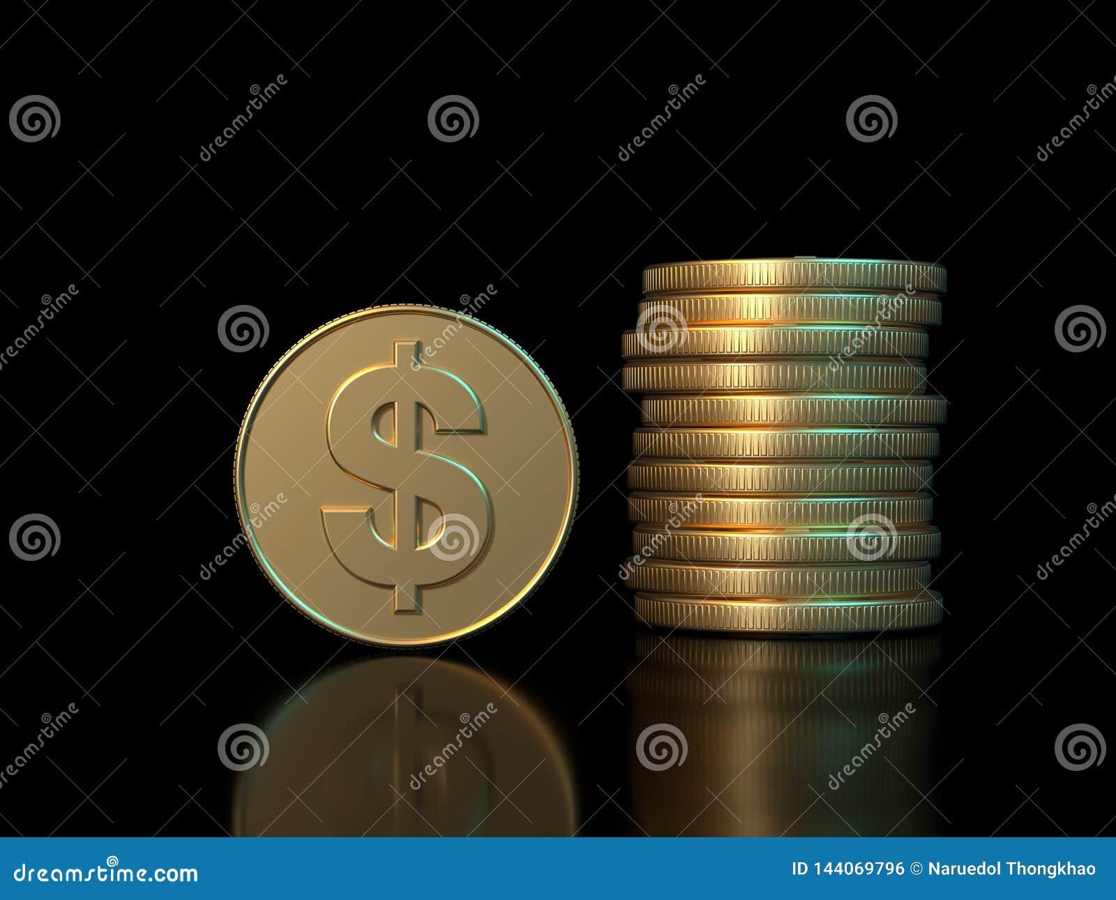 концепция экономики дела предпосылки черноты символа доллара золотой монеты перевода 3d