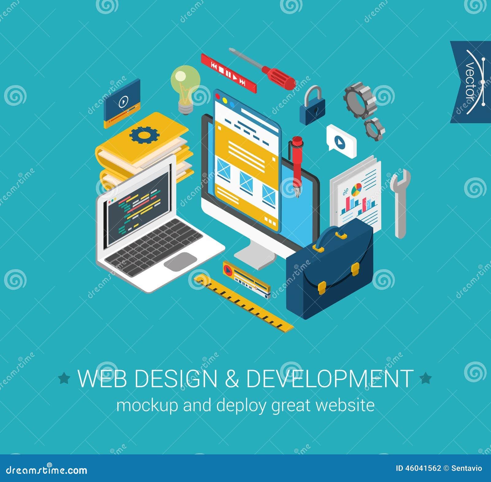 Концепция 3d модель-макета кодирвоания развития веб-дизайна программируя плоская