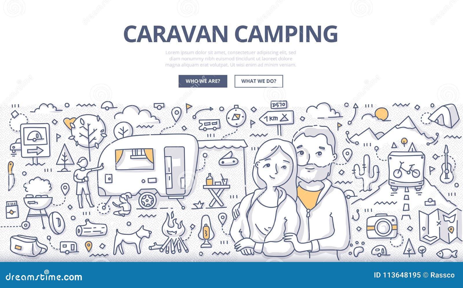 Концепция Doodle каравана располагаясь лагерем