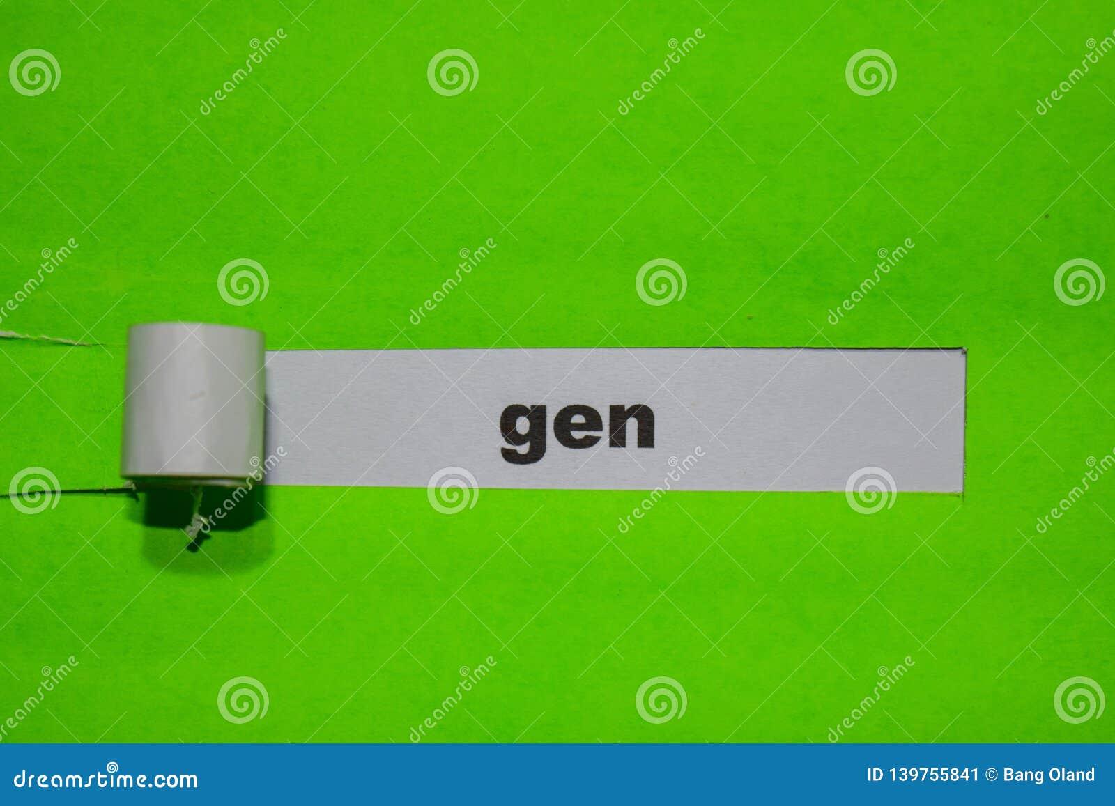 Концепция GEN, воодушевленности и дела на зеленой сорванной бумаге
