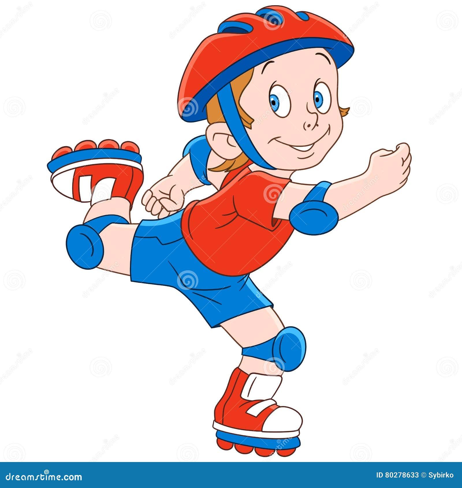 Конькобежец ролика мальчика шаржа
