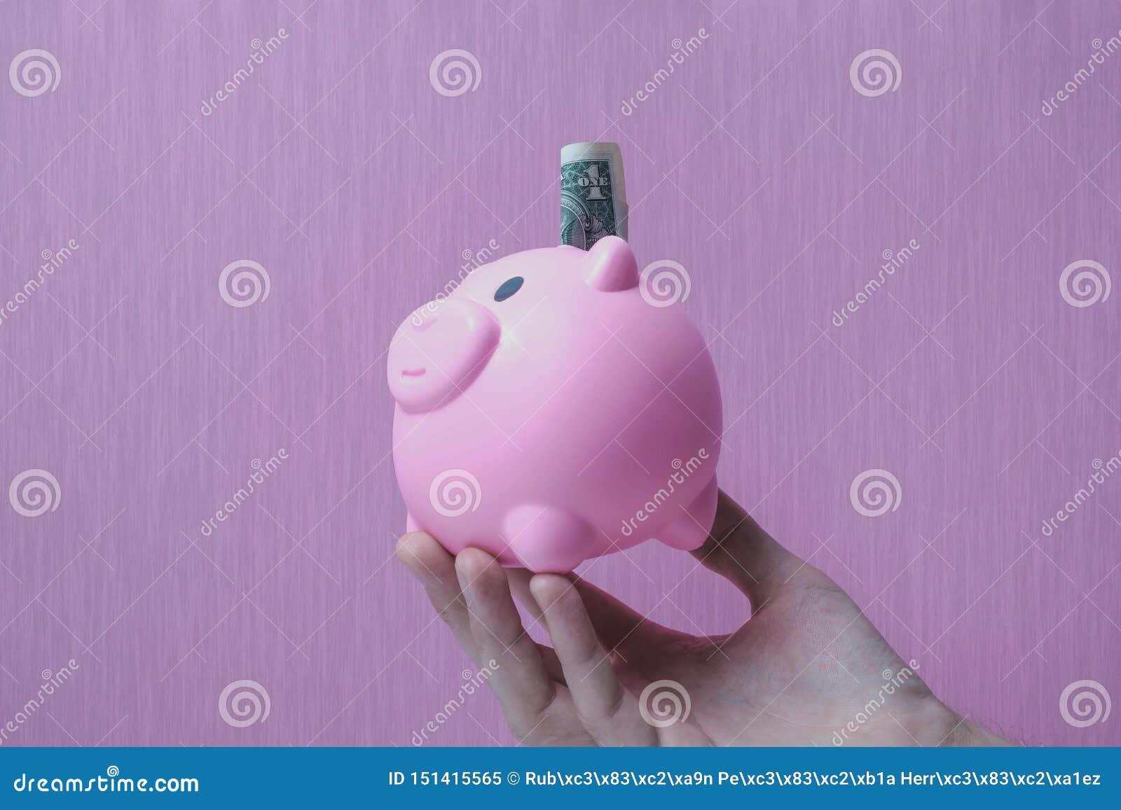 Копилка сохраняет текстурированную предпосылку доллара денег розовую